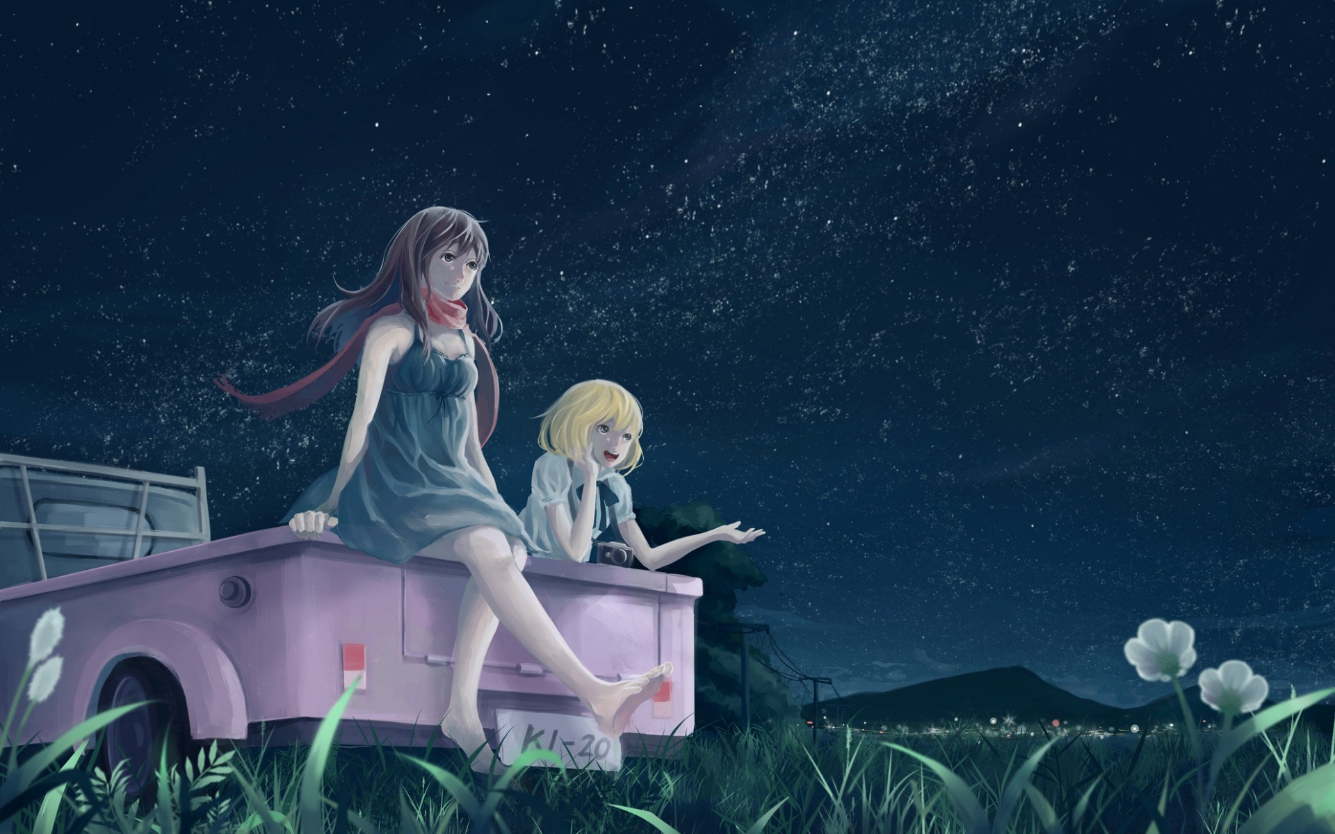 Art Girls Car Night Anime
