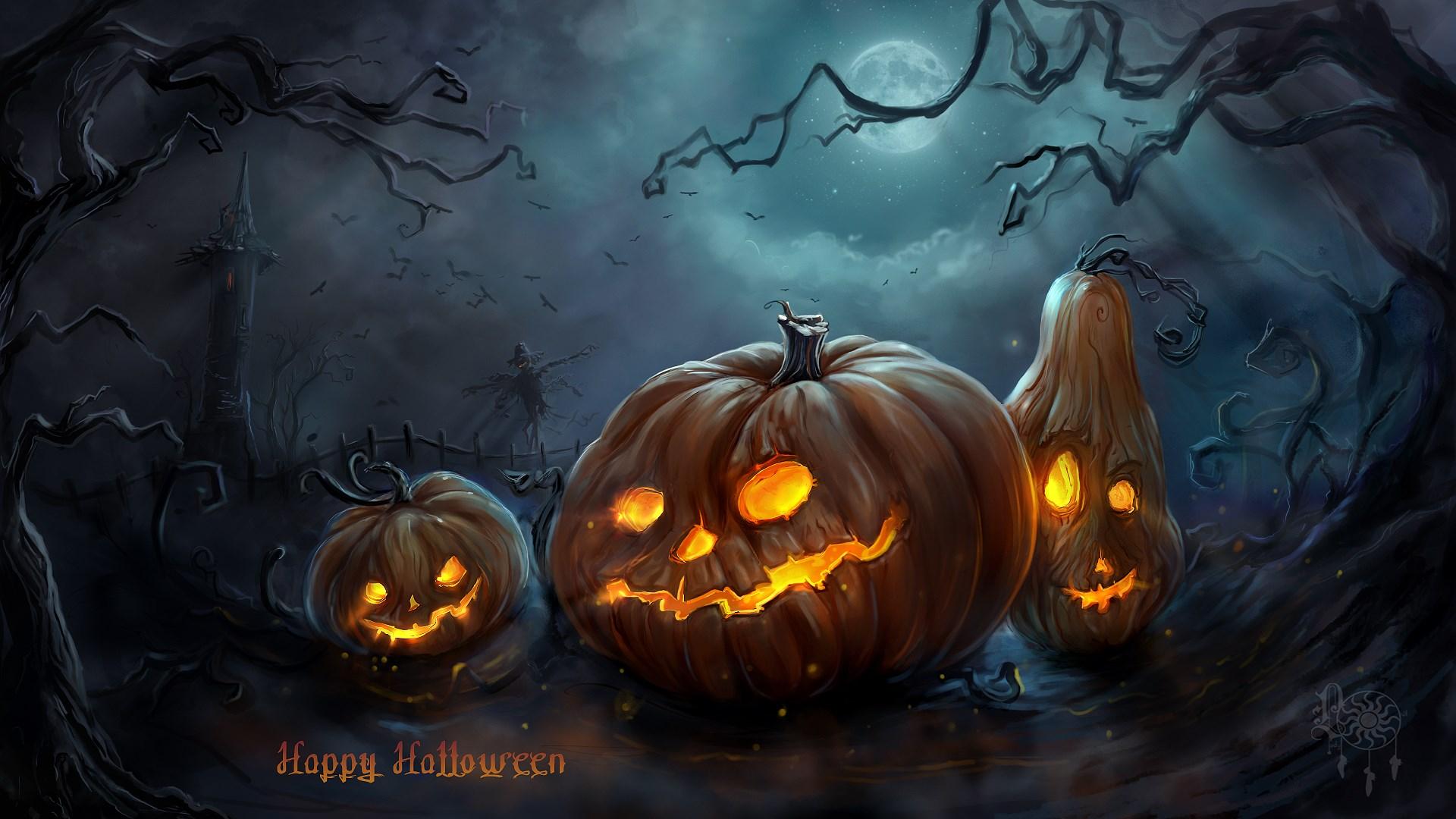 Art Halloween Night Pumpkins Moon