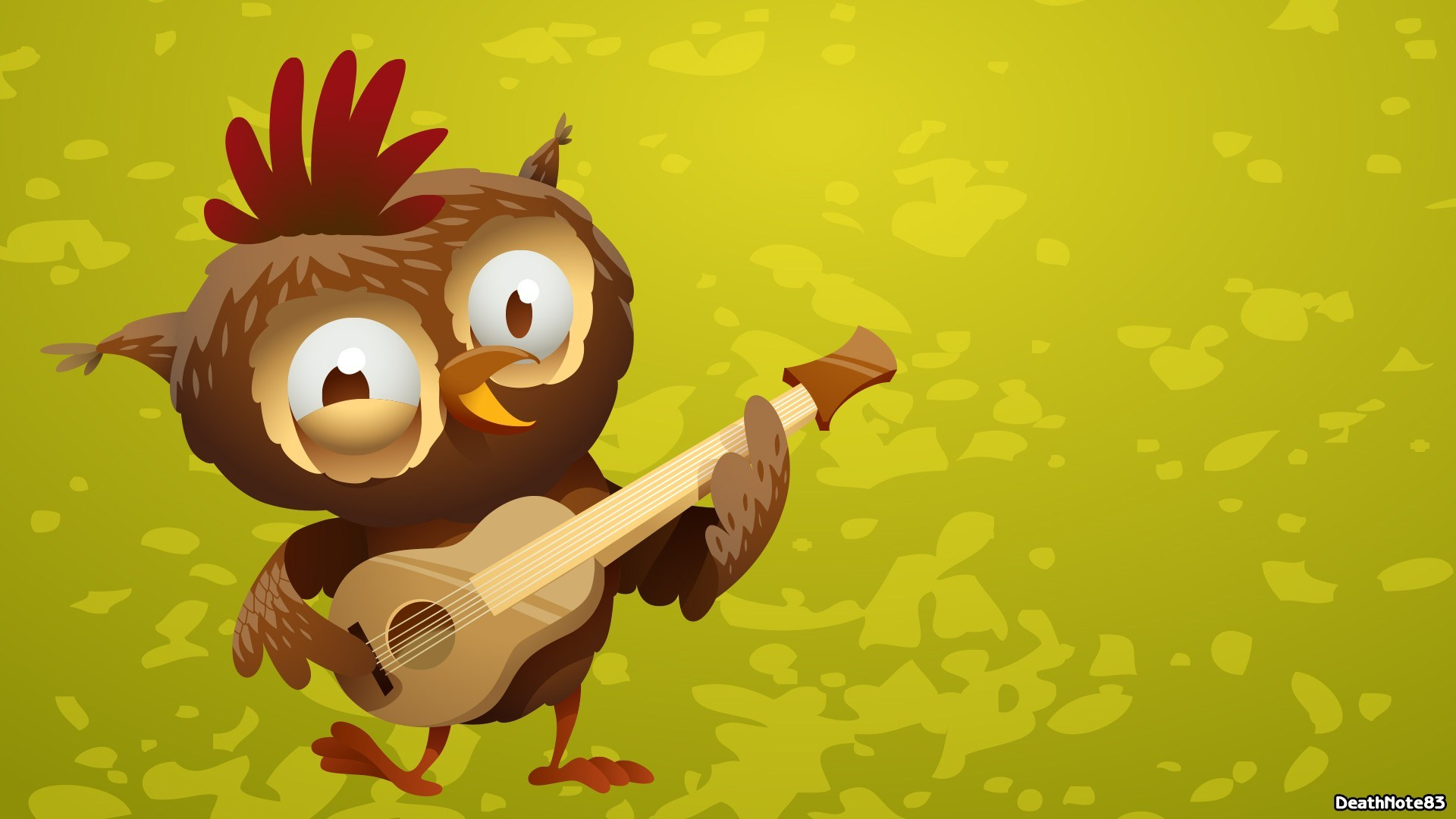 Art Owl Guitar Funny Cartoon