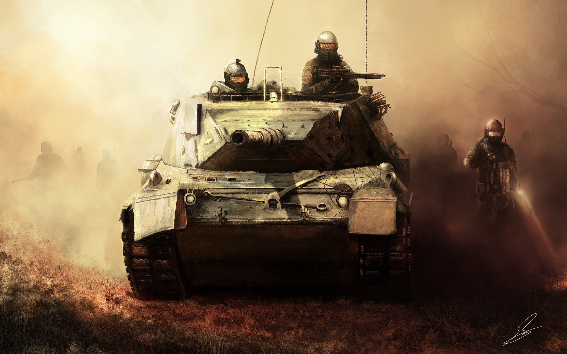 Art Tank Soldiers Weapons Fog