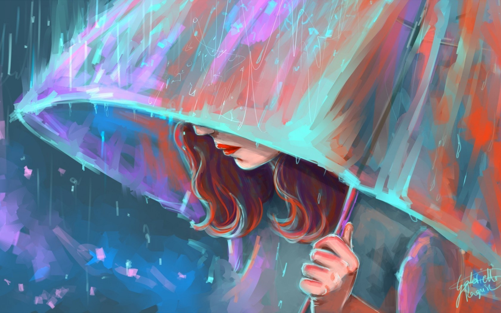 Art Umbrella Rain Girl