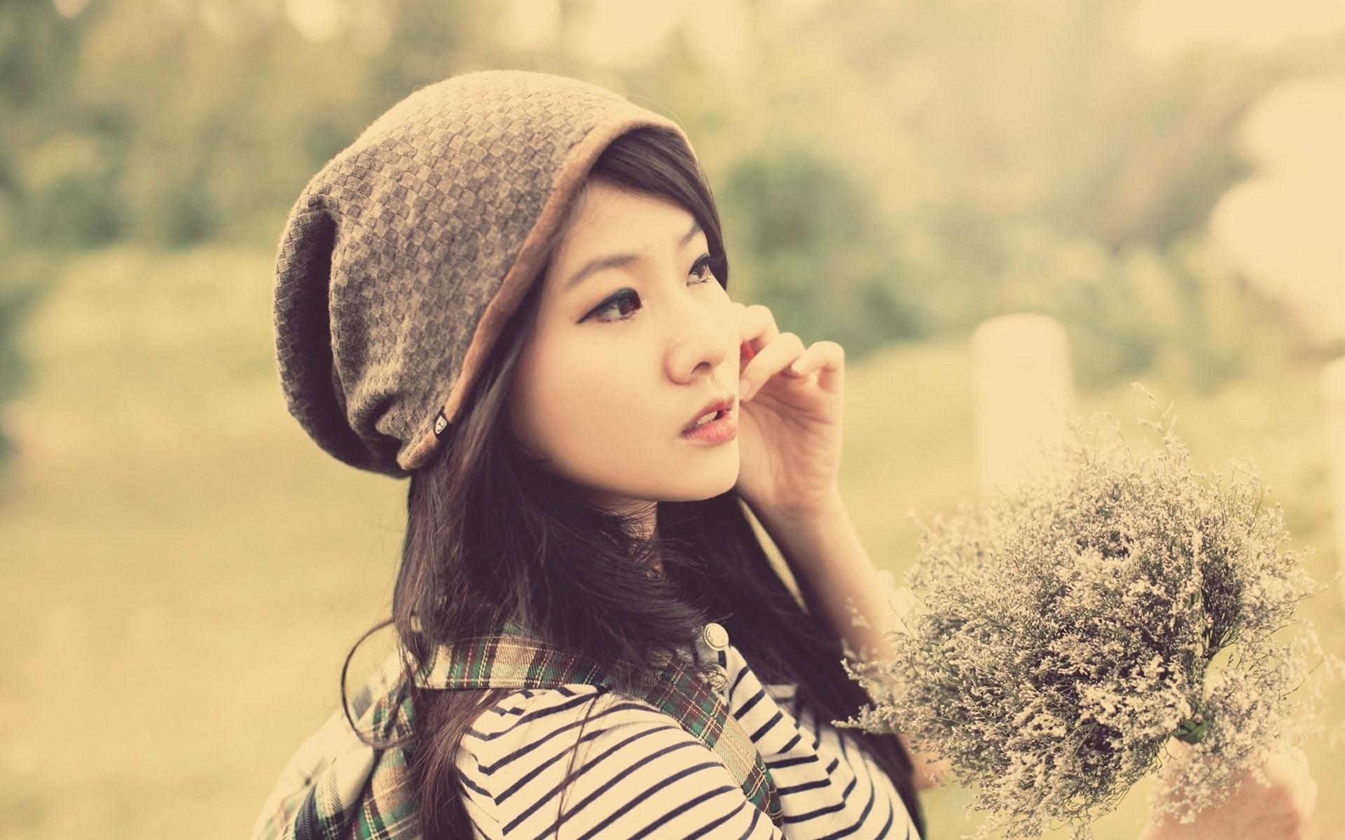 Beautiful Brunette Asian Girl Photo HD Wallpaper