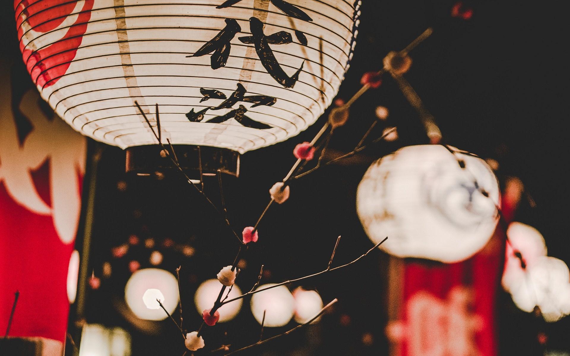 Asian Oriental Lanterns Paper Lights Holiday Photo