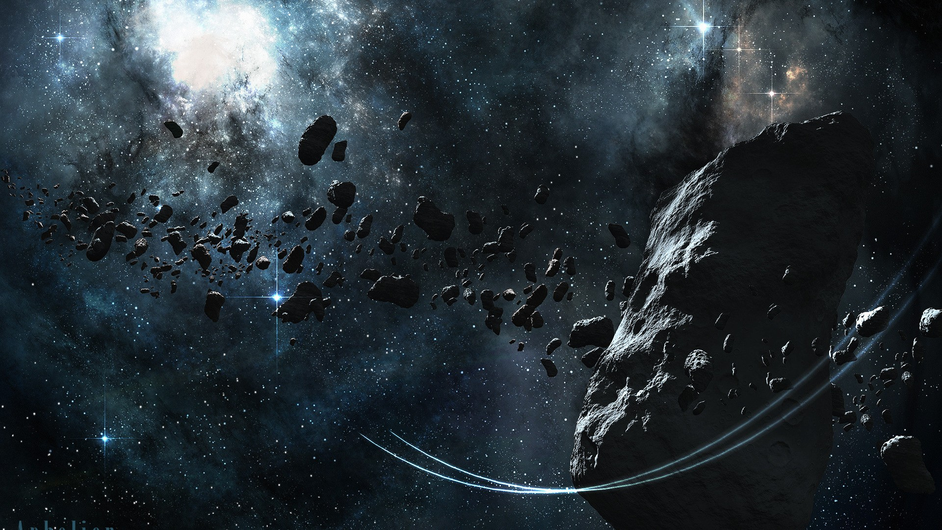 outer space planets asteroids