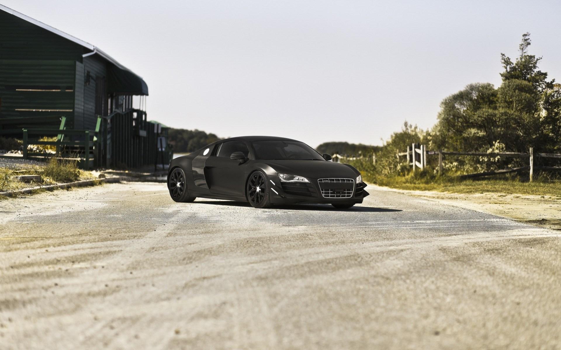 Audi R8 Black Matte Road Wallpaper 1920x1200 15917