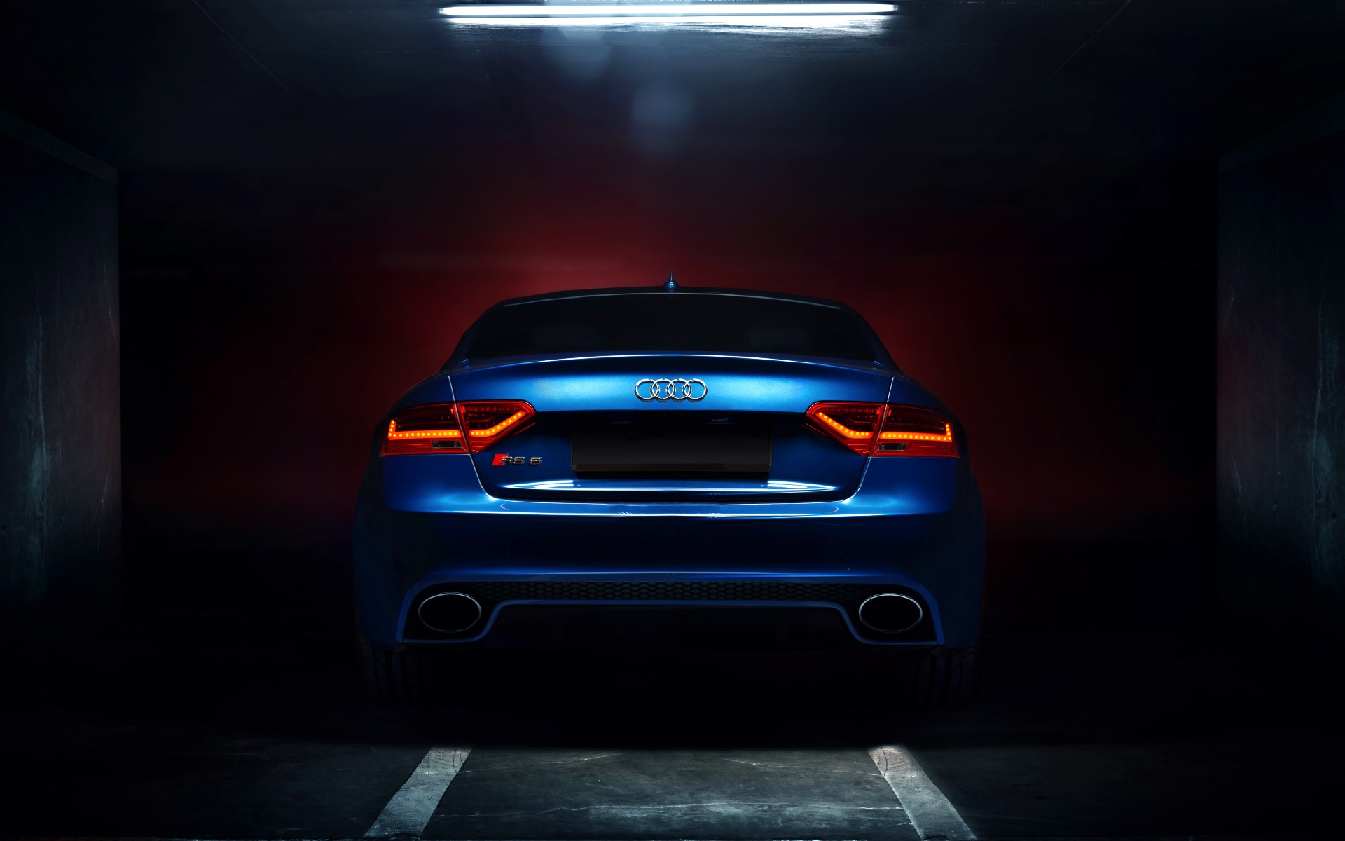 Audi Rs5 Coupe Tuning Blue Car Backlights Glow Wallpaper 1920x1200 15927
