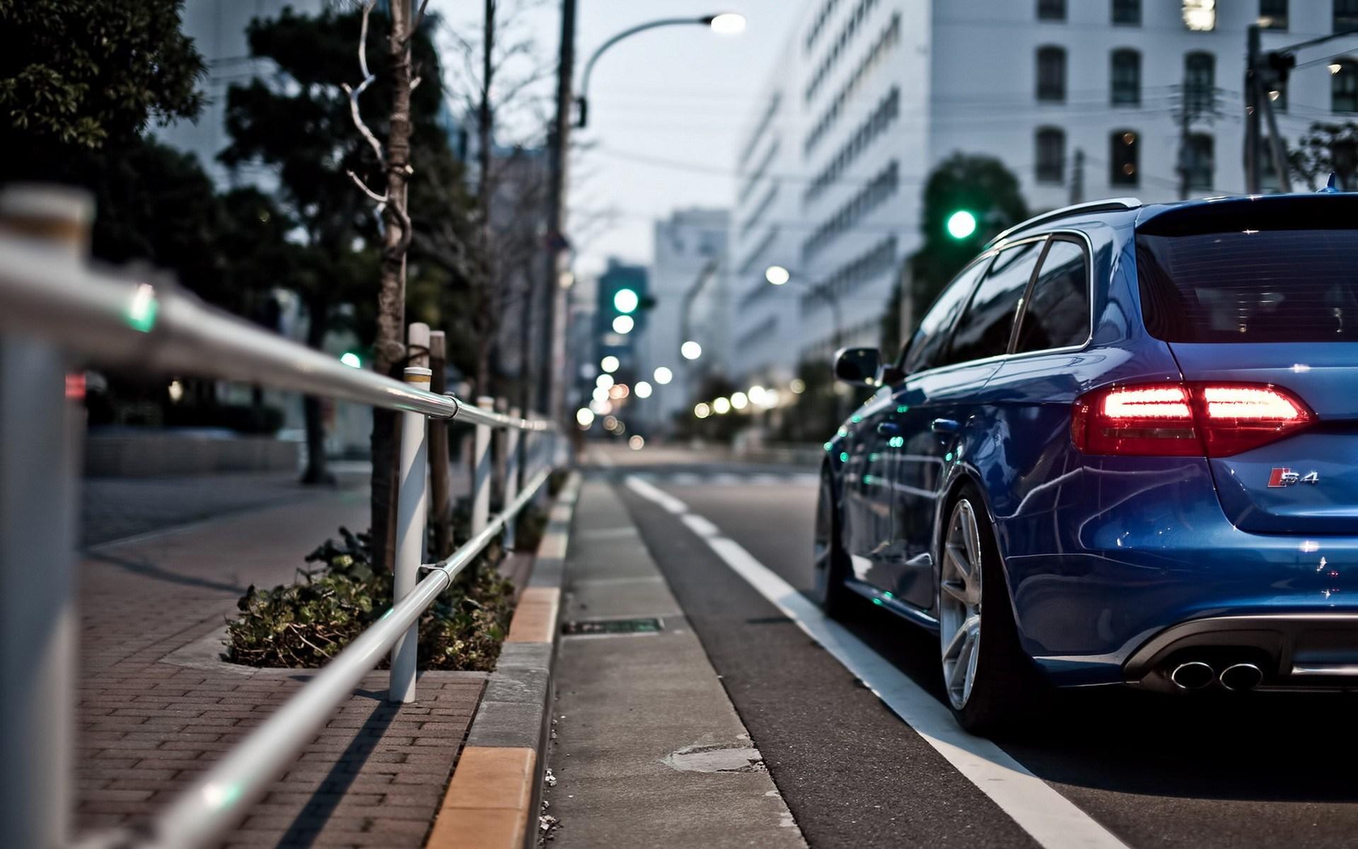 Audi S4 Blue City Street Bokeh