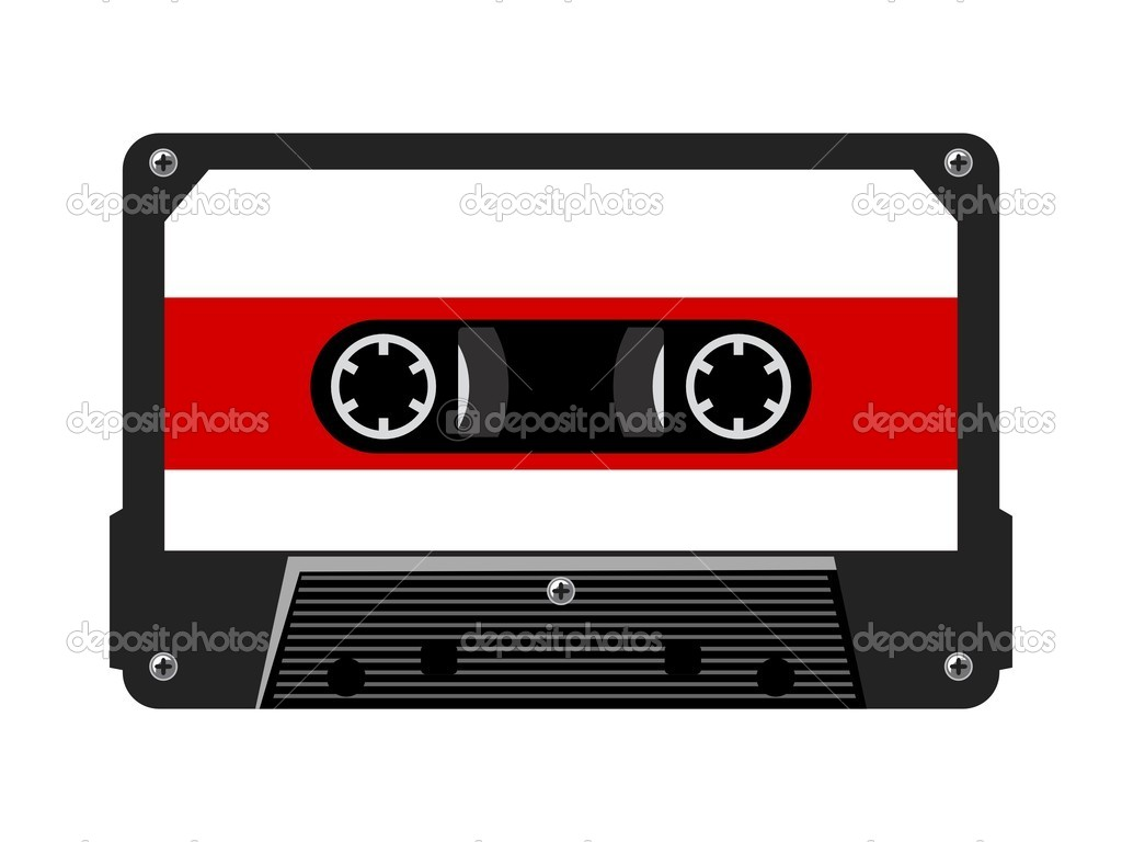 Colored illustration of audio cassette — Vector by Perysty