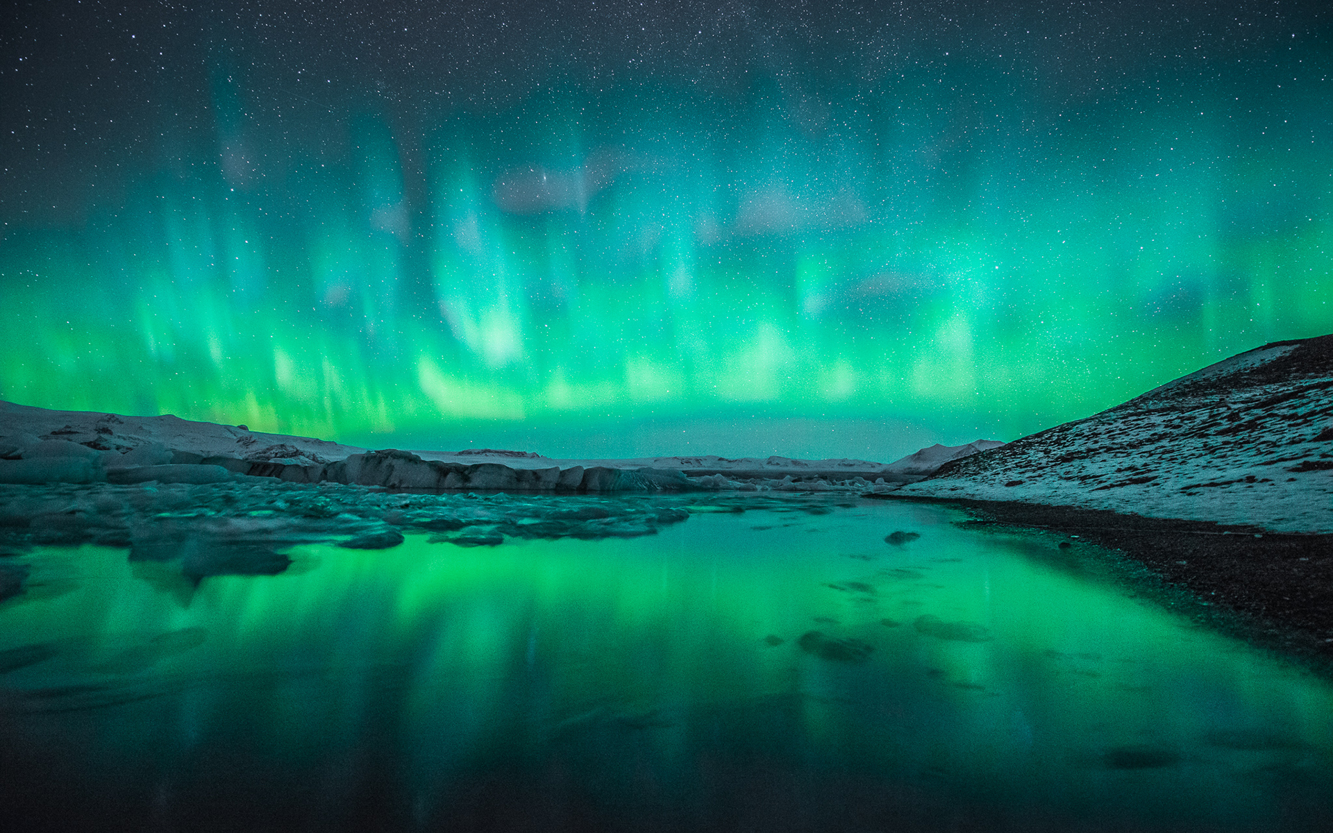 Wallpaper Northern Lights Wallpaper: Wallpaper Winter Snow Northern Lights Aurora Borealis Hd 1920x1200px