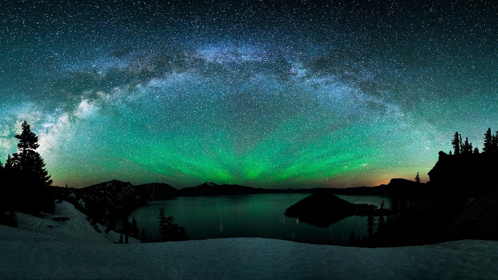 The Milky Way Above Mountain Lake Wallpaper and Aurora Borealis