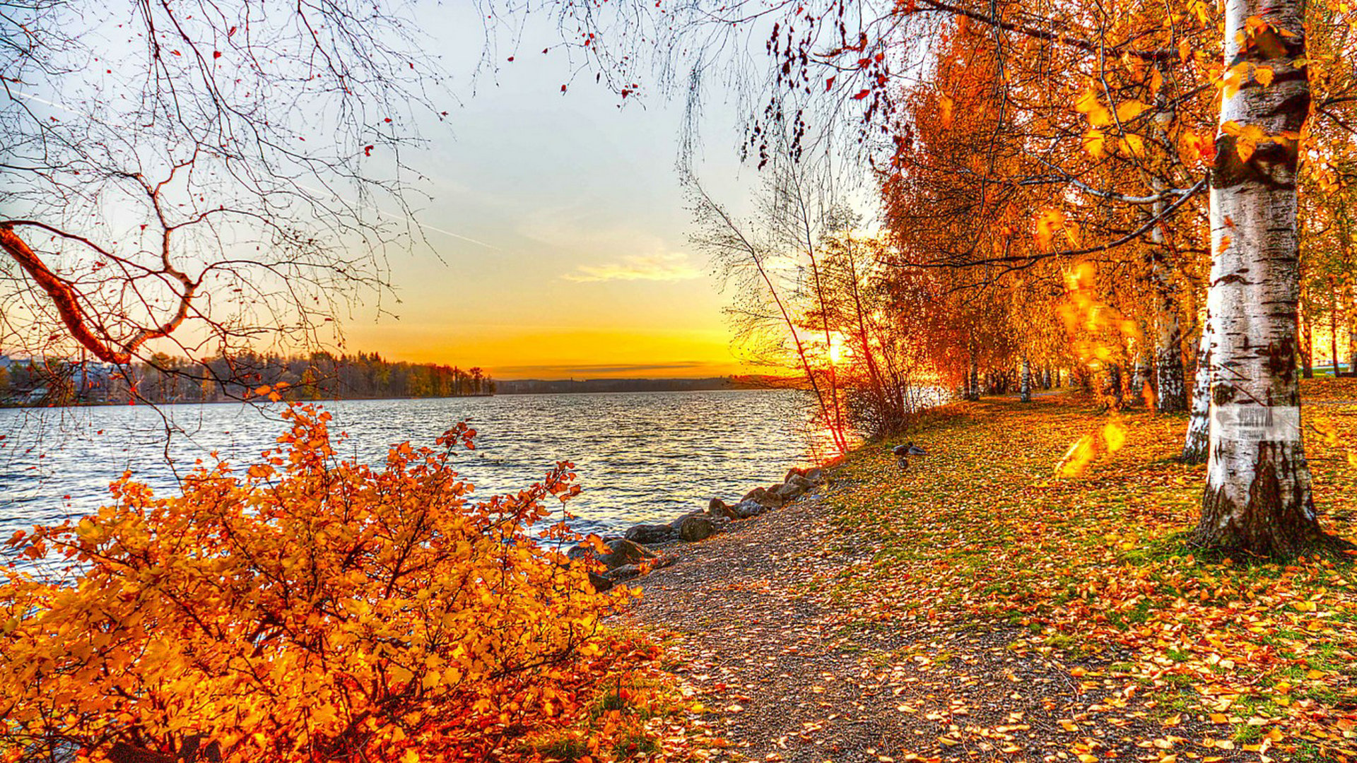 Sunset Autumn Lake Hd Wallpaper 1920x1080px