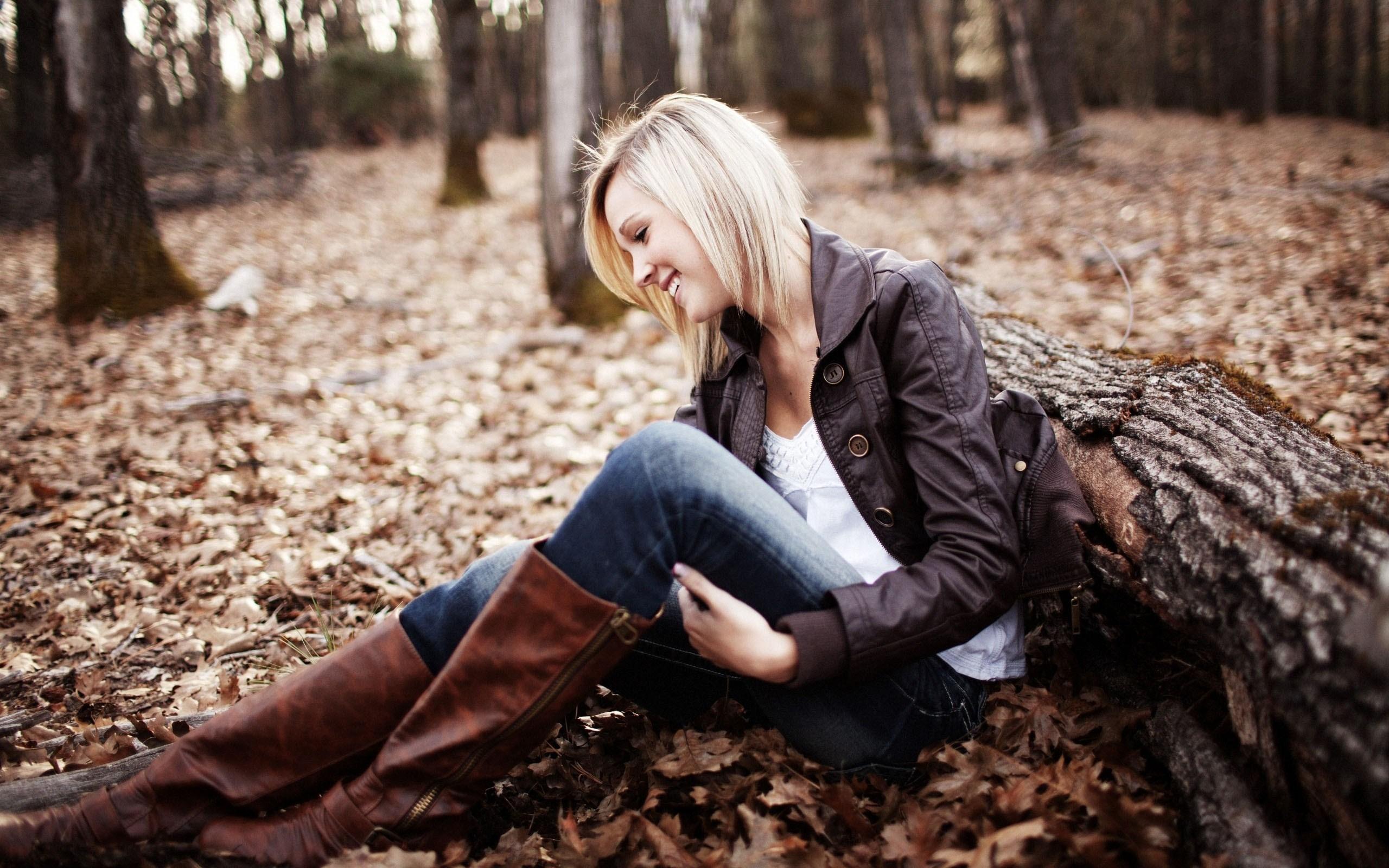 Autumn Leaf Forest Blonde Girl Smile Photo