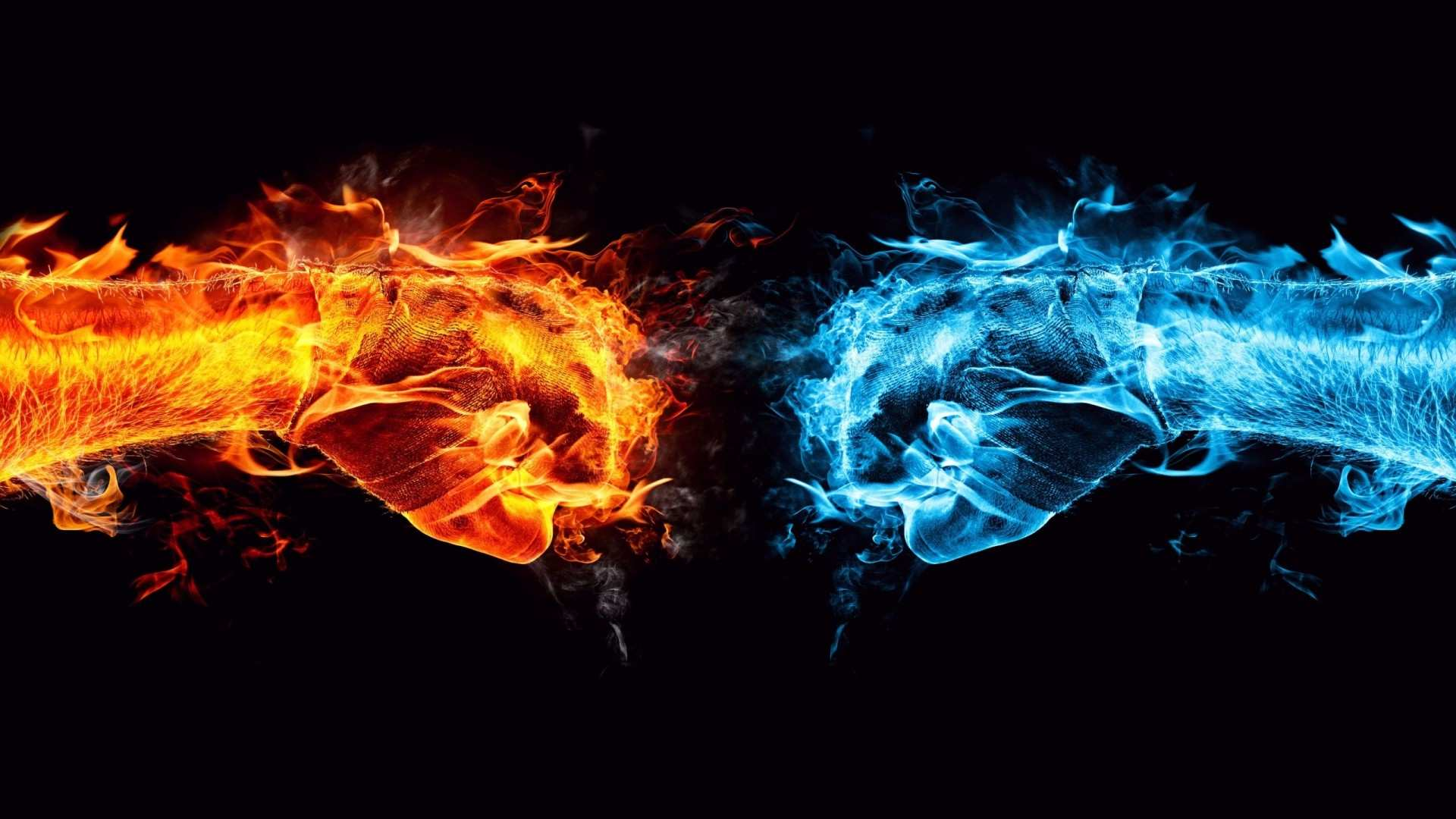 ice fire 3D conflict 1920x1080 Free Wallpaper