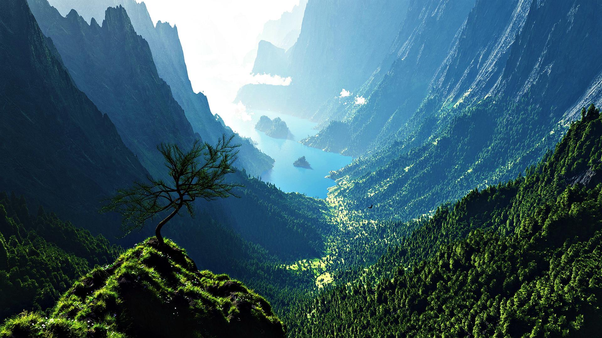 Amazing Mountain Valley Wallpaper