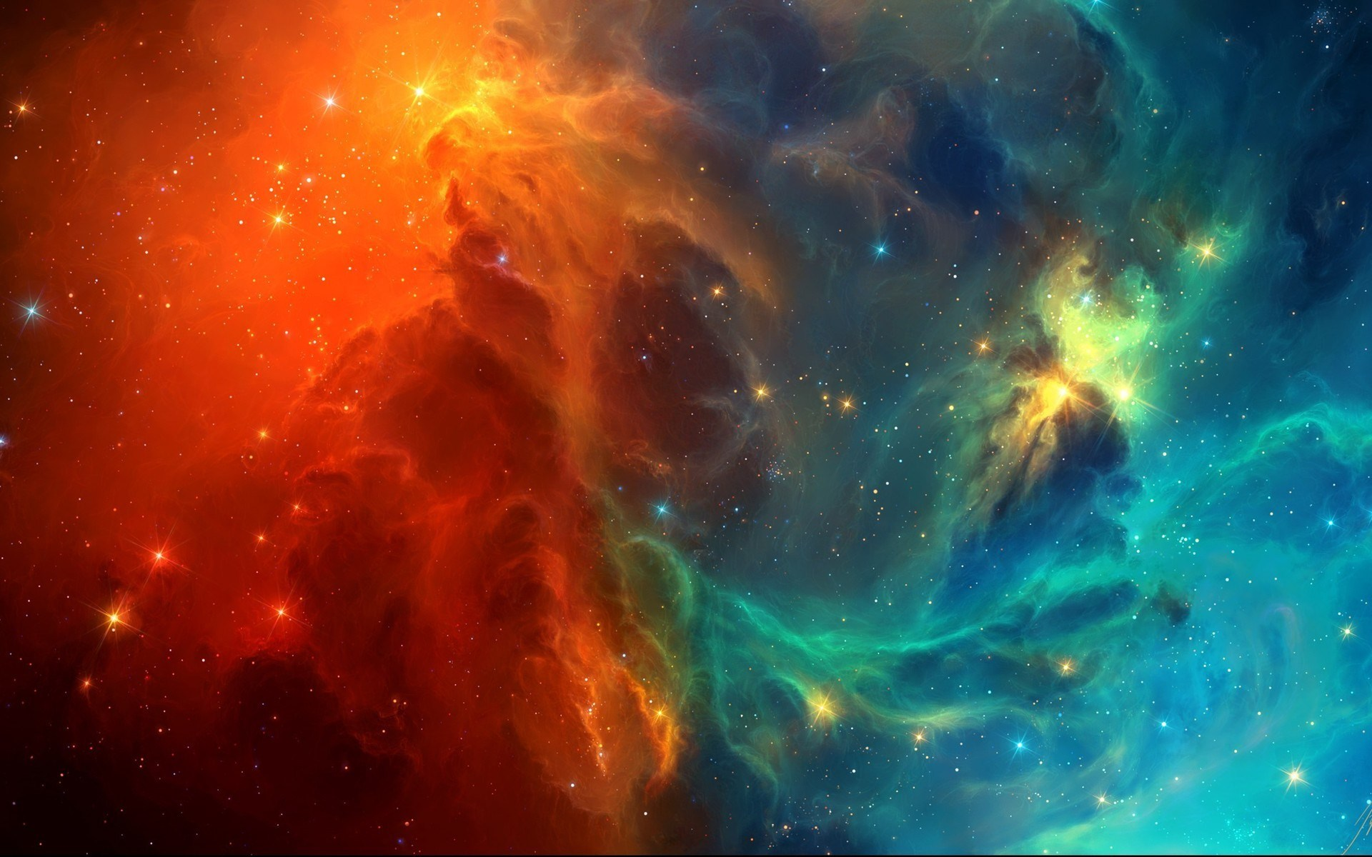 Space Nebula Stars Red Blue HD Wallpaper
