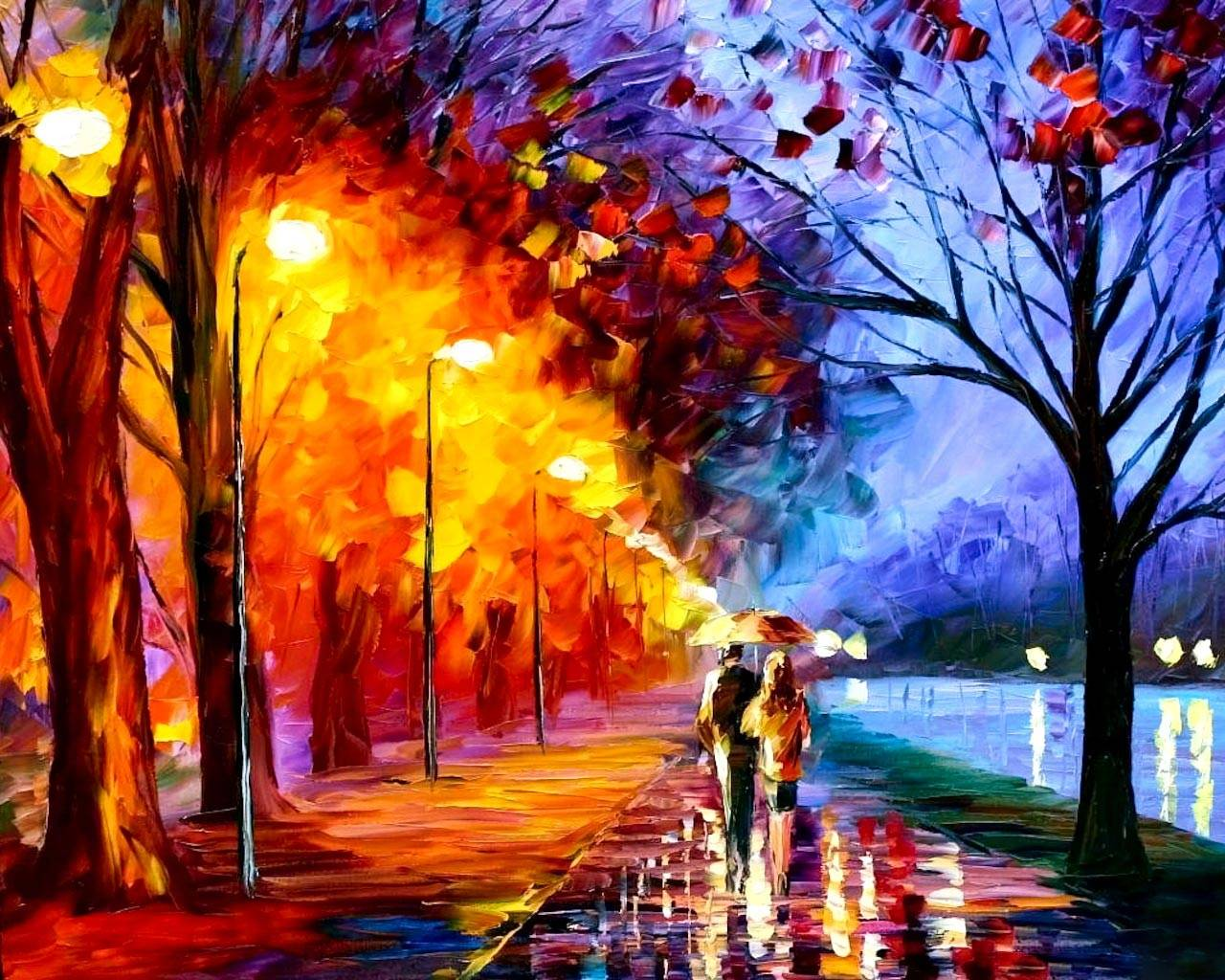 Awesome Painting Wallpaper: Outstanding Related Pictures Autumn Painting Wallpaper 1280x1024px