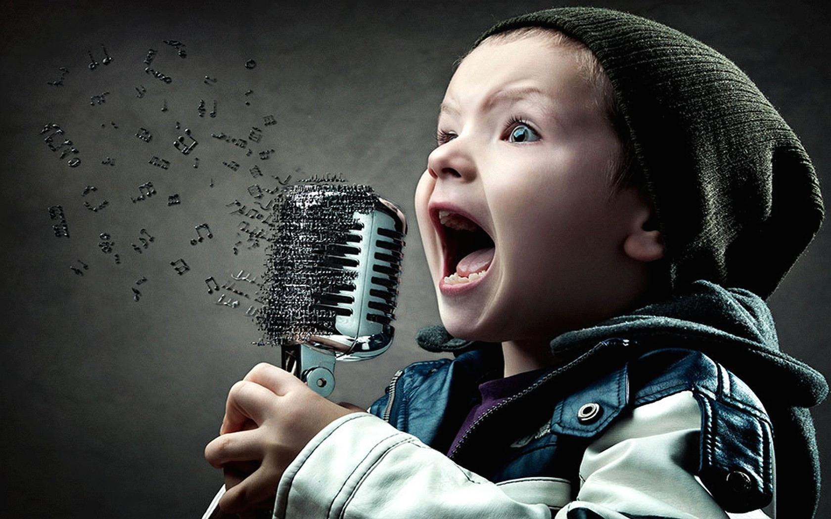 Wallpaper child singer notes music digital art