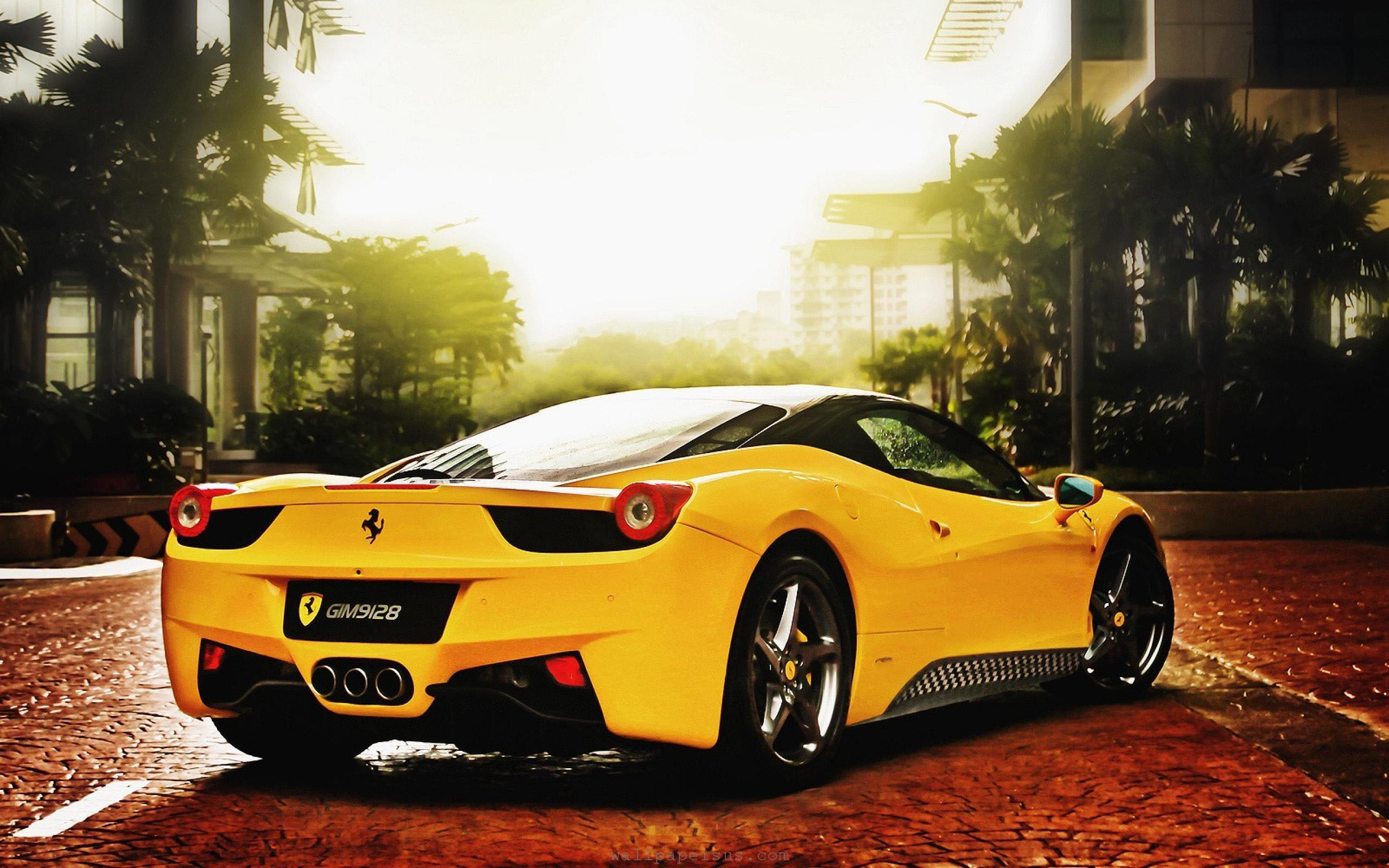 Awesome Yellow Ferrari Widescreen Hd wallpaper
