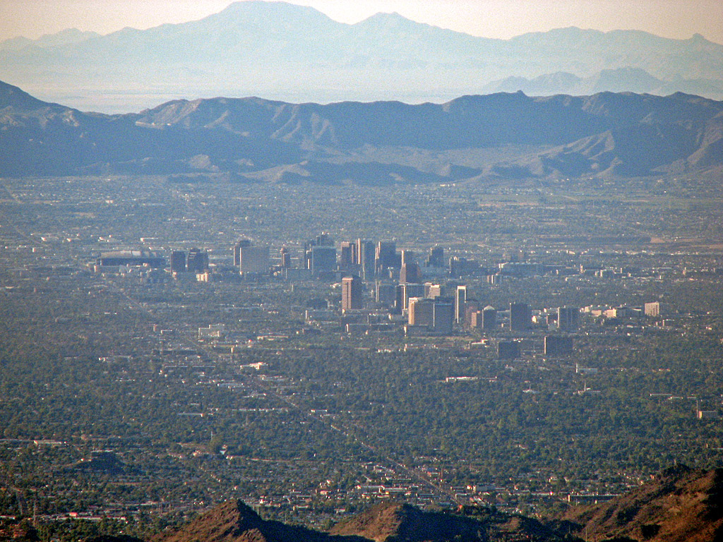 A view of downtown Phoenix, Arizona from the vantage point of our hot air balloon basket