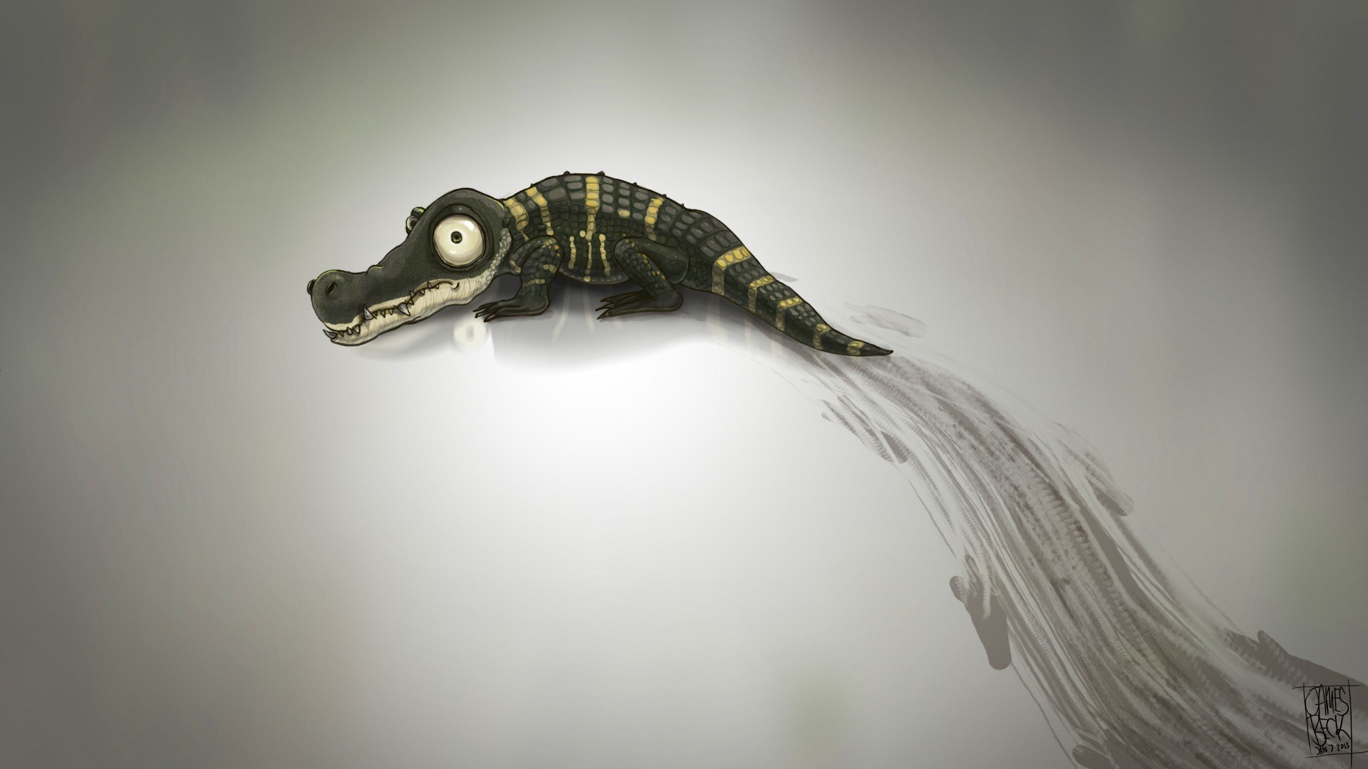 Baby Alligator Minimalism Art