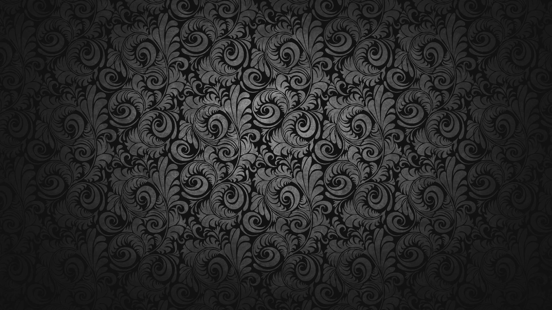 Chic Dark Black Abstract Flower Classic Motif Legend Background Hd Wallpaper
