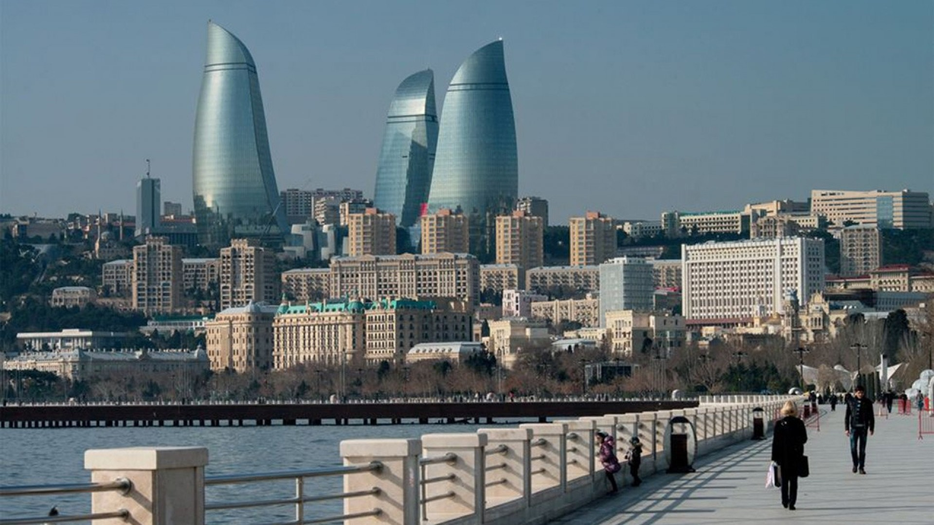 Futuristic architecture design buildings azerbaijan baku flame towers wallpaper