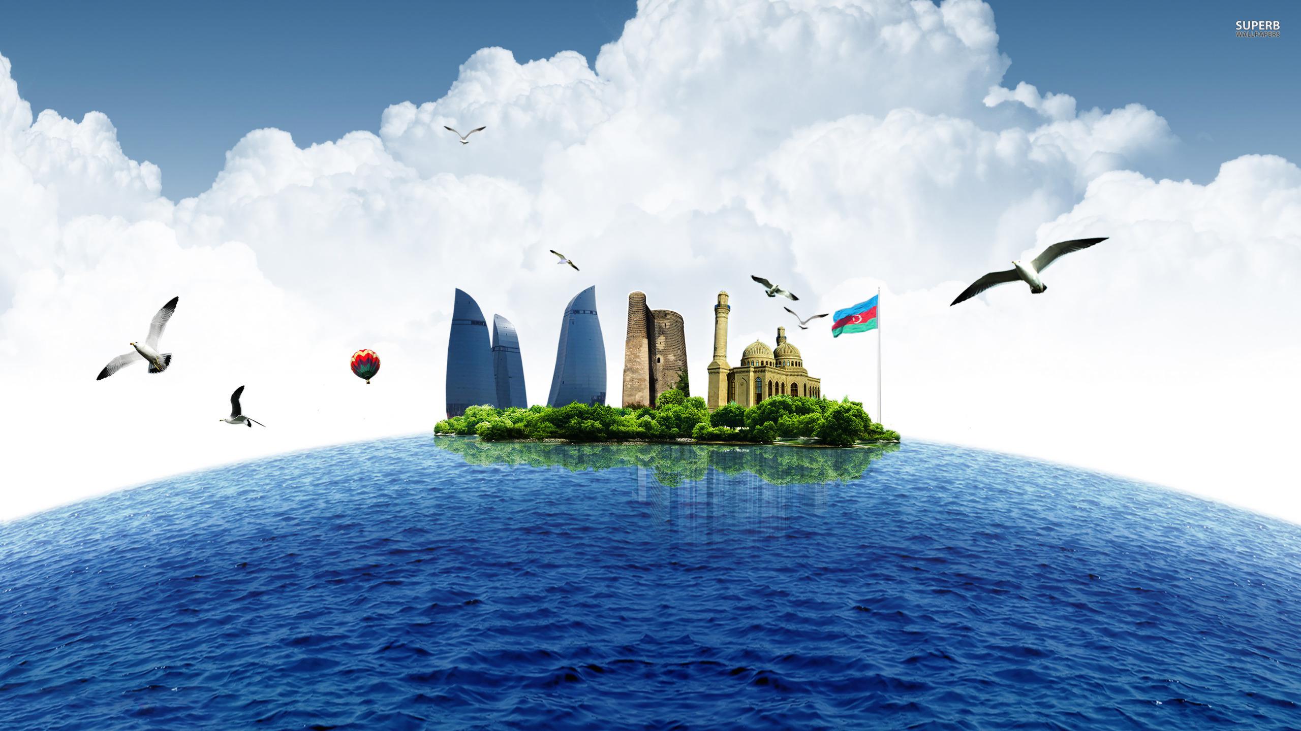 Baku as an island wallpaper 2560x1440