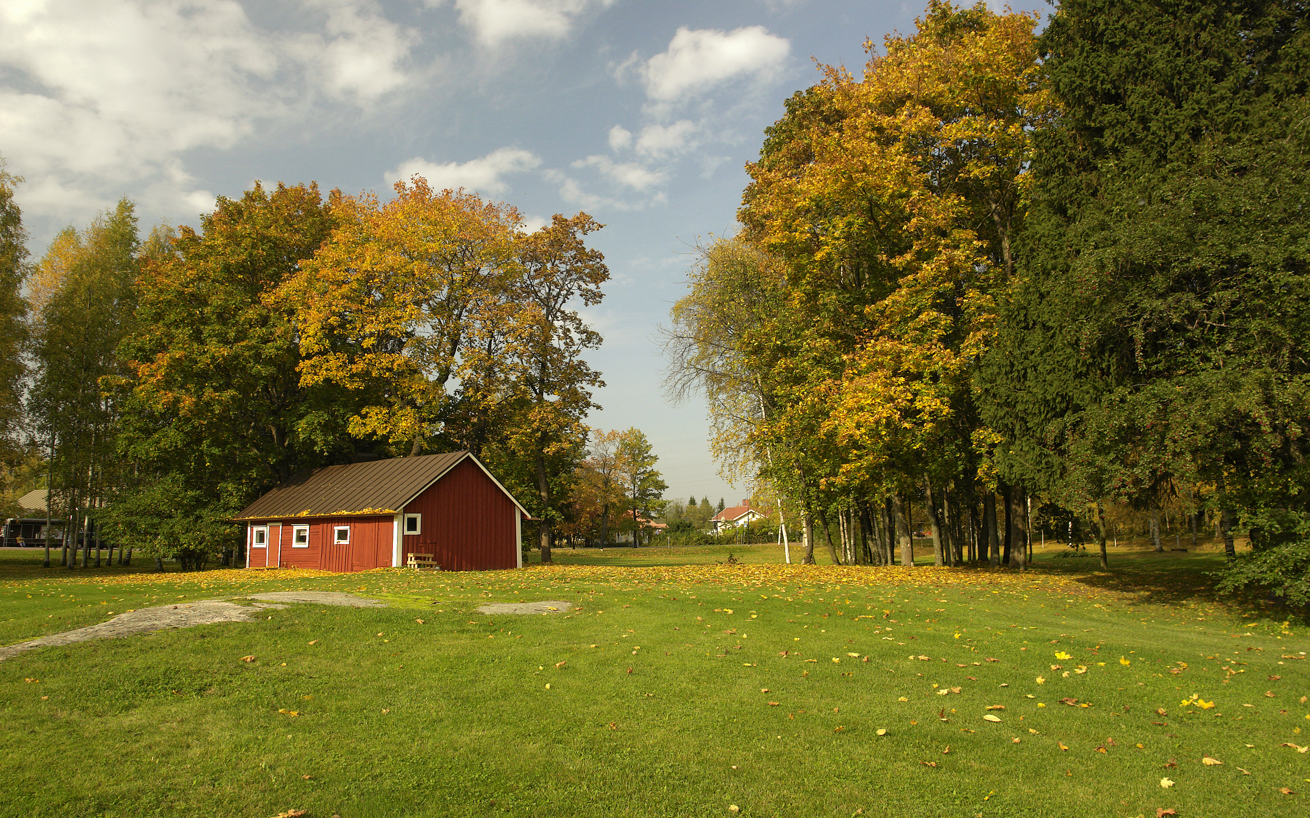 Autumn Field With A Red Barn HD wallpapers