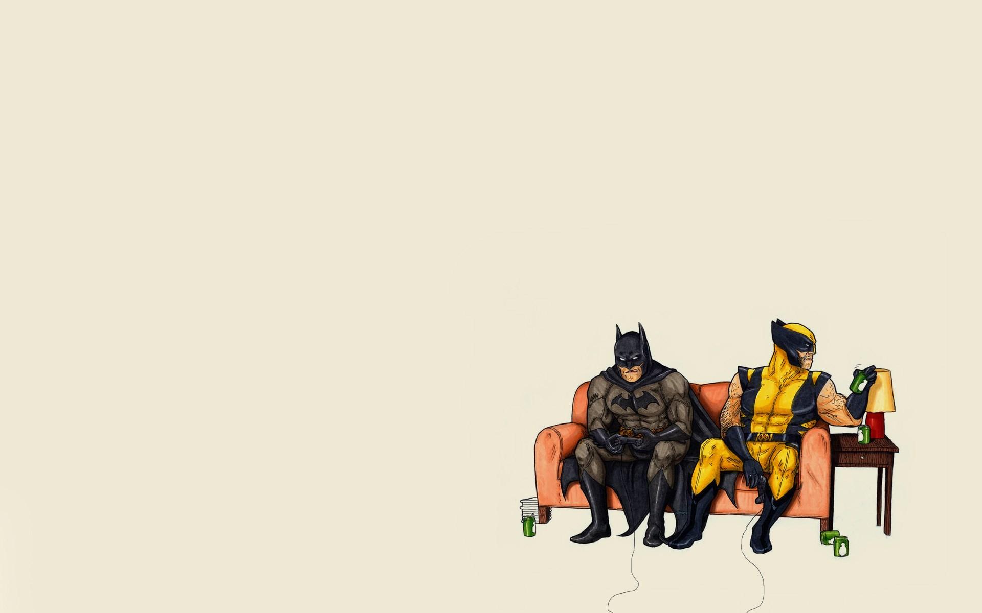 Batman Wolverine Minimalism Art Funny