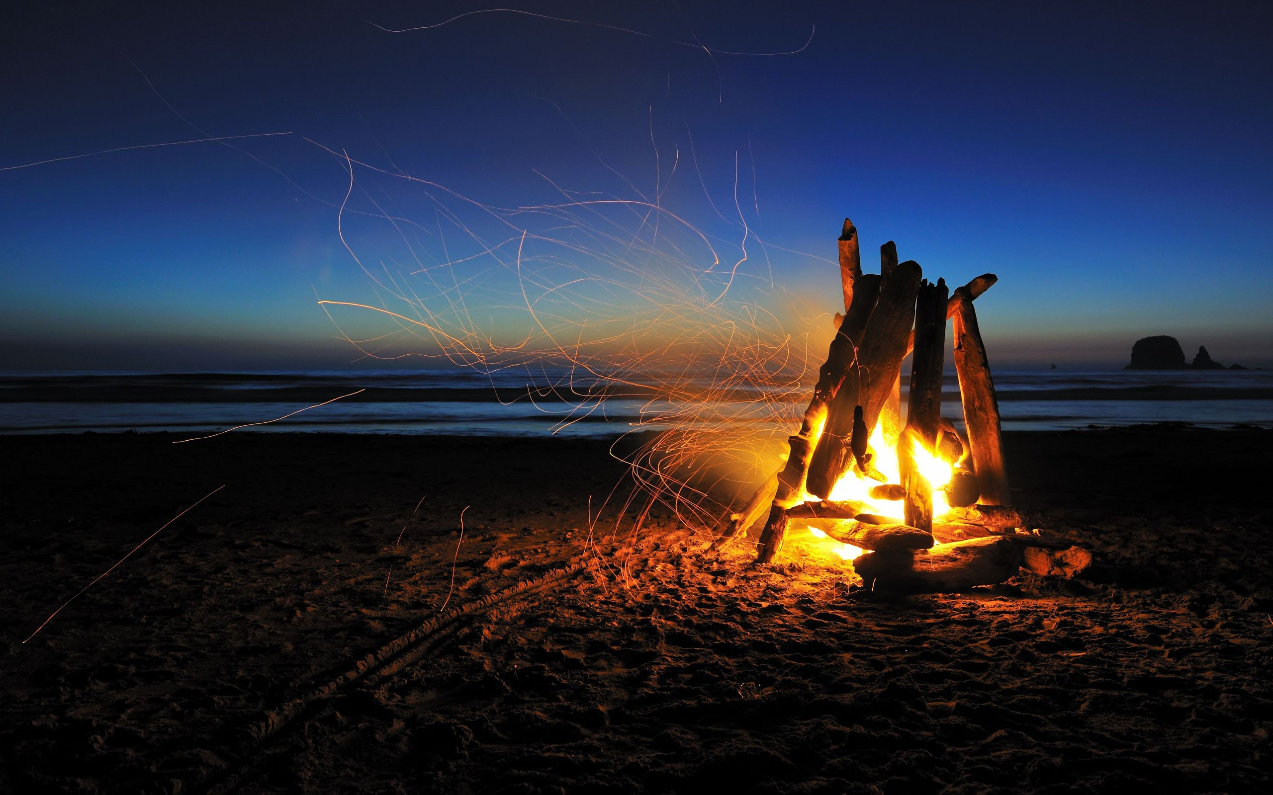 Beach campfire night