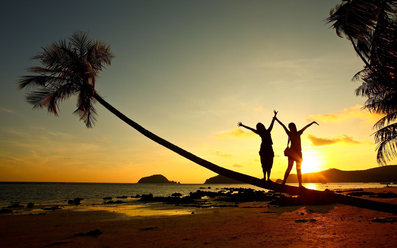 Beach girl sunset fun