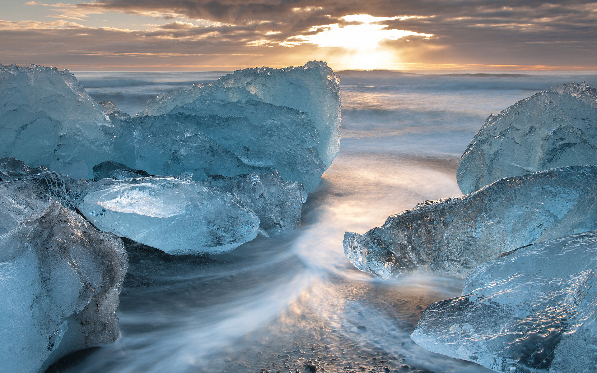Beach ice sea
