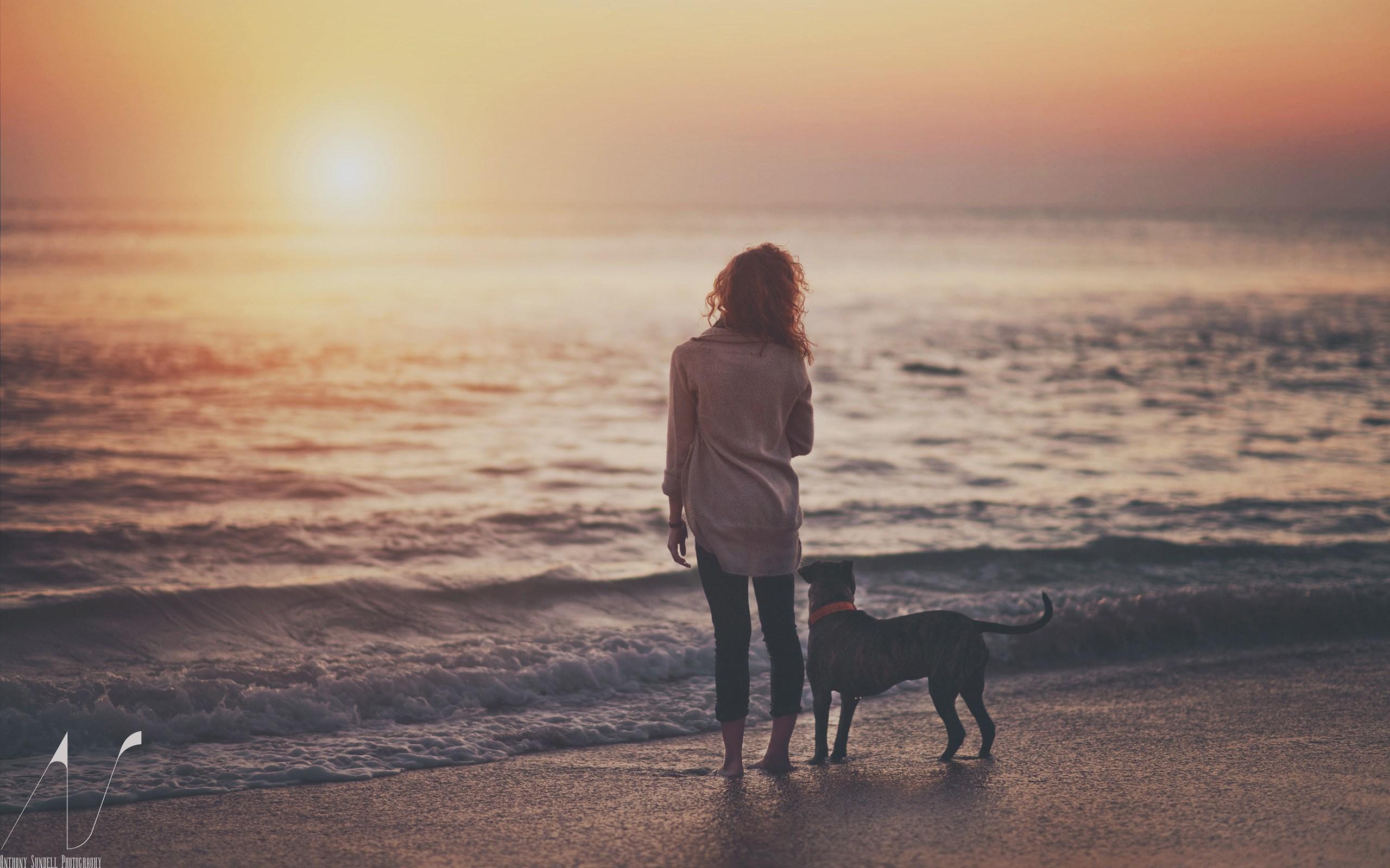 Beach Sea Girl Dog Photo