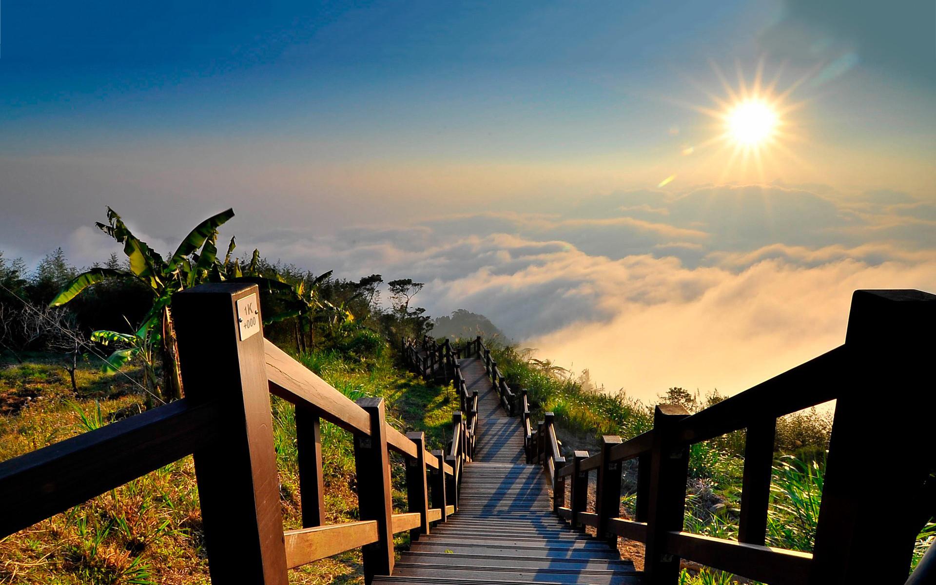 Beach stairs sunset
