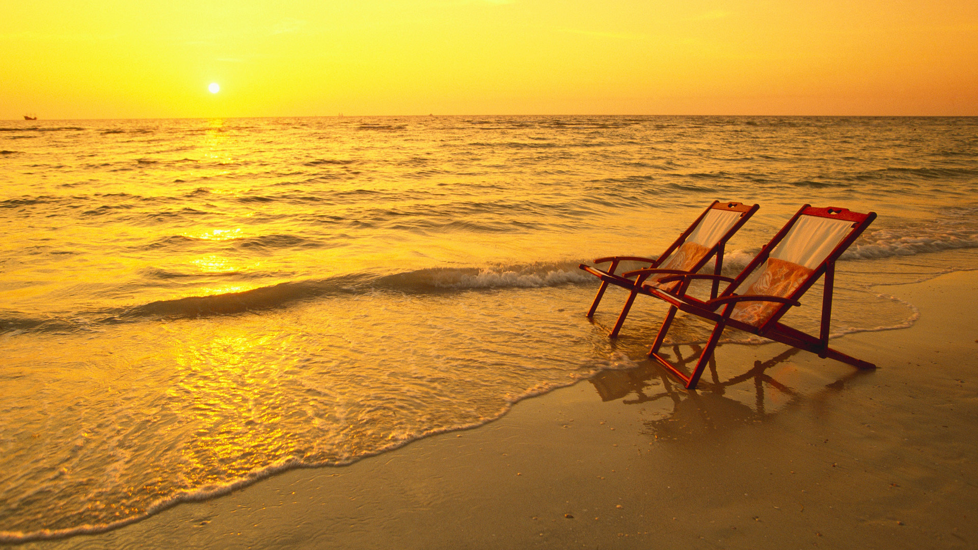 Beach Sunset Chairs Wallpaper