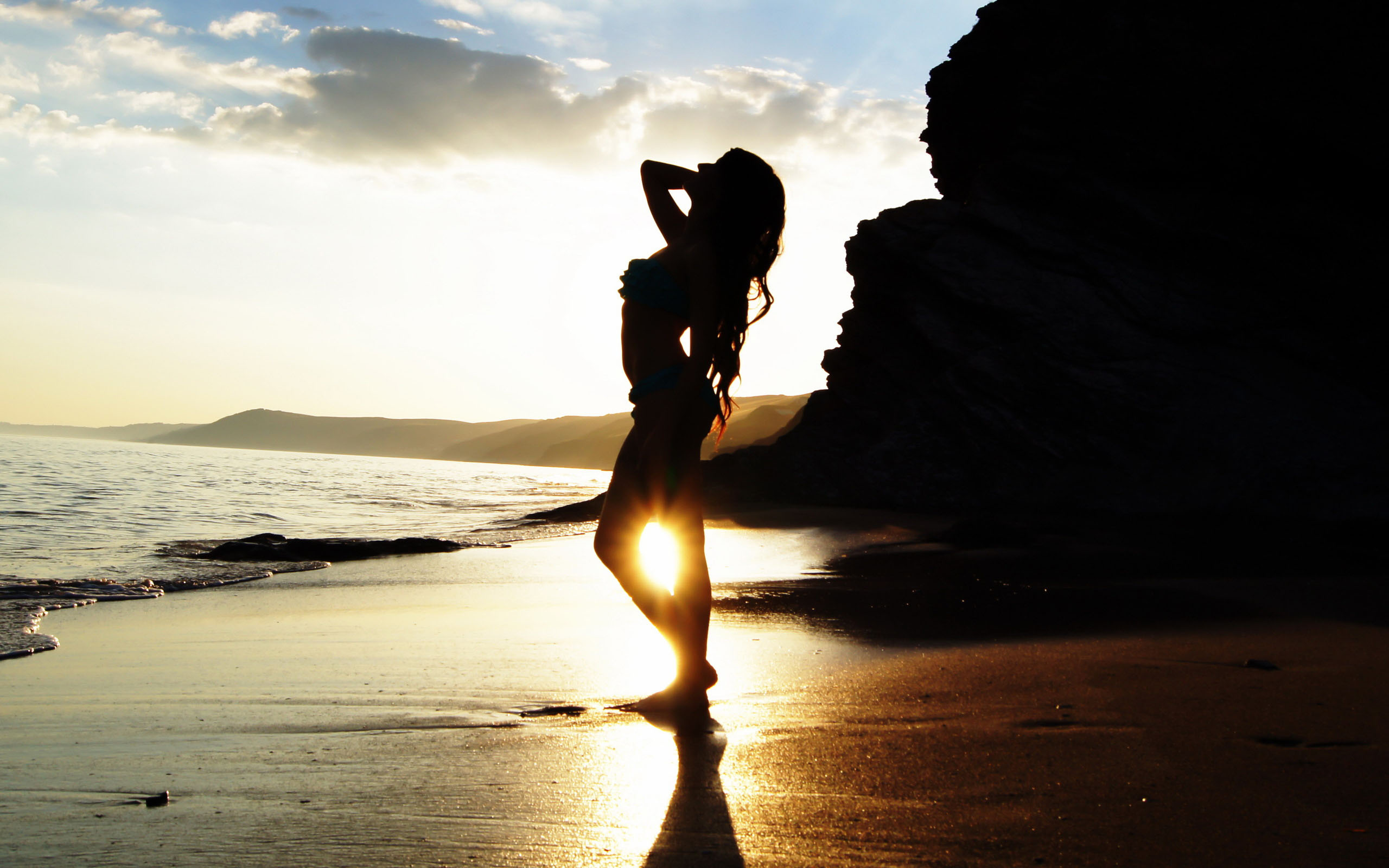 Beach sunset girl silhouette