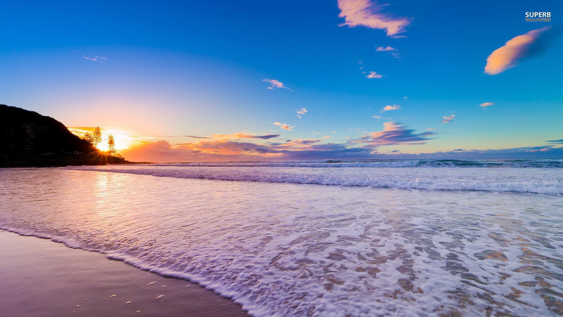 Sunset on the beach wallpaper 1920x1080