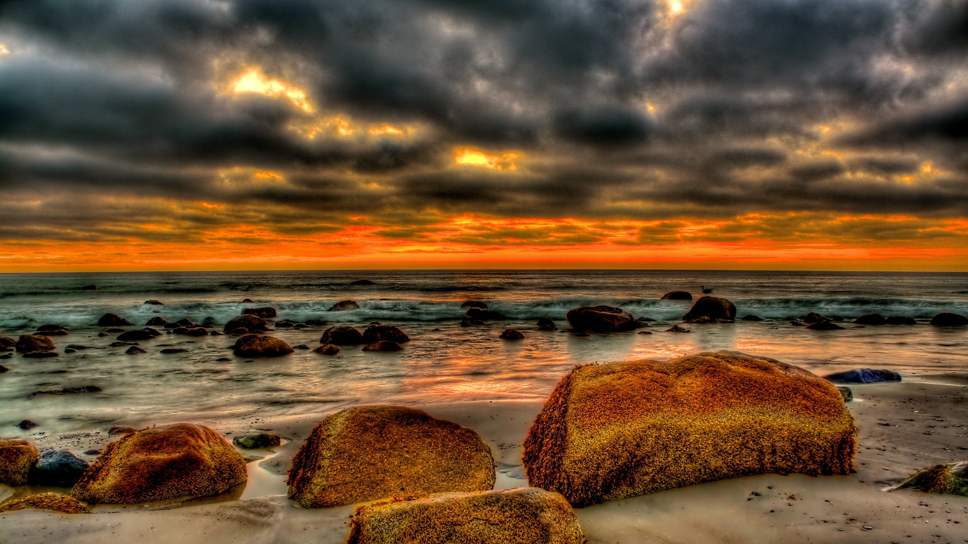 Beautiful Beach Strewn With Rocks At Sunset Hdr Hd Desktop Background