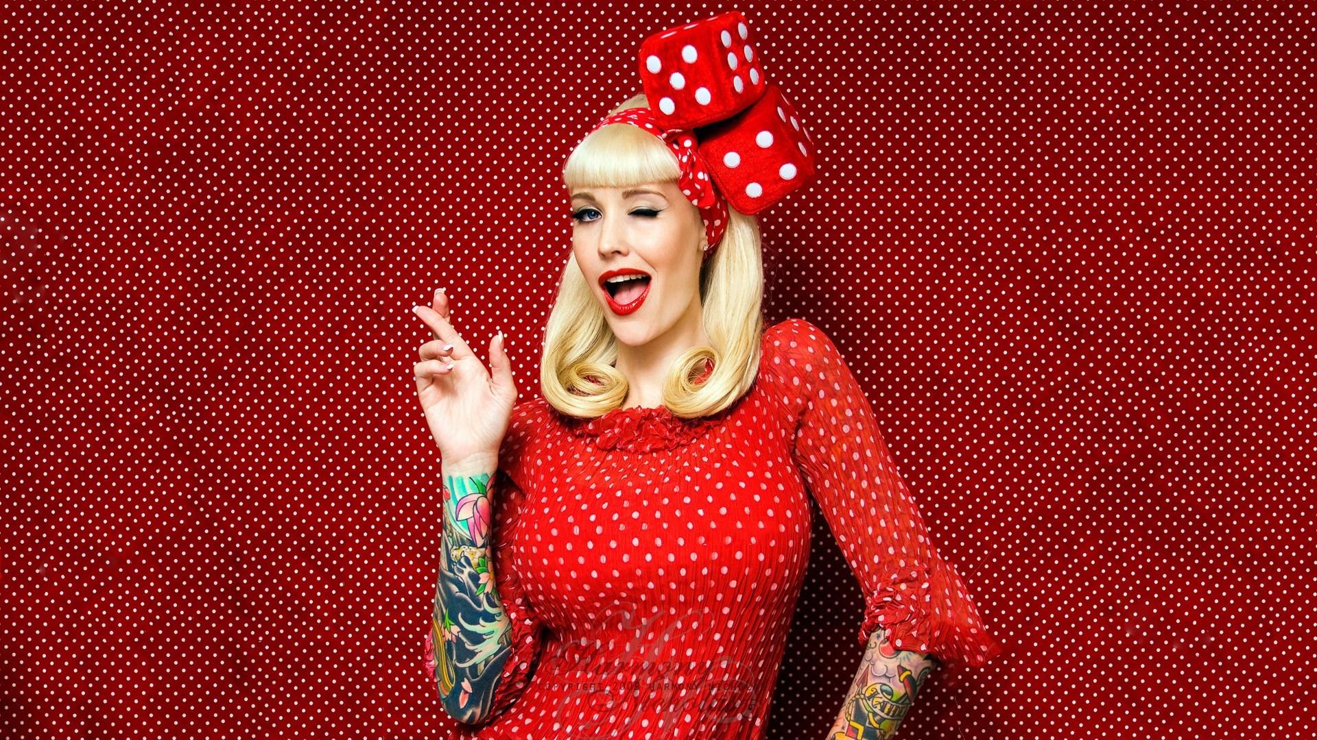 Beautiful Blonde Girl Tattoos Red