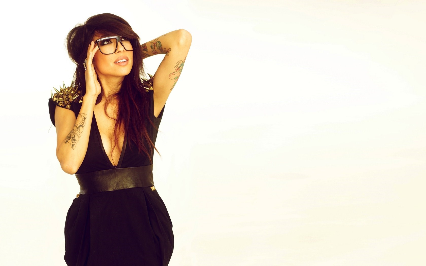 Beautiful Brunette Girl Alie Layus Tattoos Glasses
