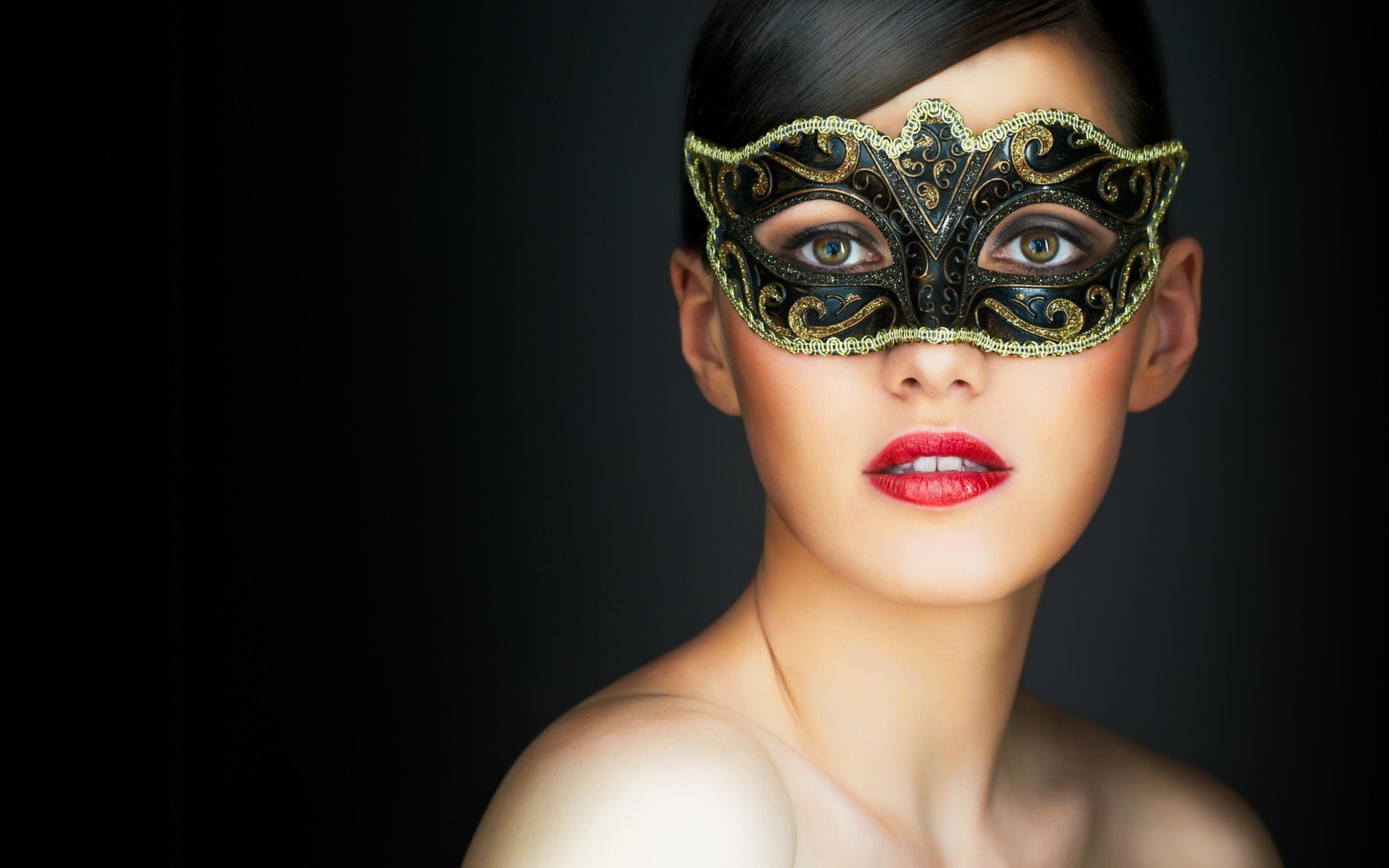 Beautiful Brunette Red Lips Mask Portrait