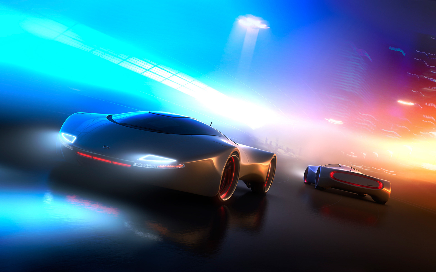 Most Beautiful Car Front Back Pose Multi Color Shining Lights Background Hd Wallpapers
