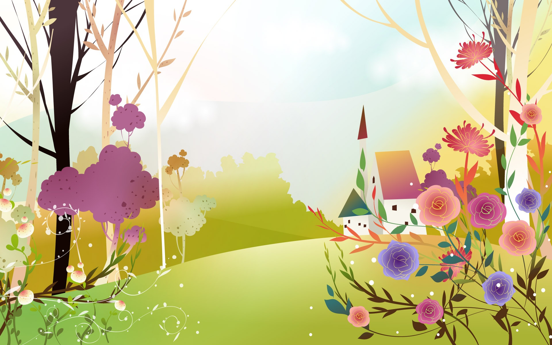 Download Spring Land, beautiful, cartoon, 1920x1200 wallpaper ...