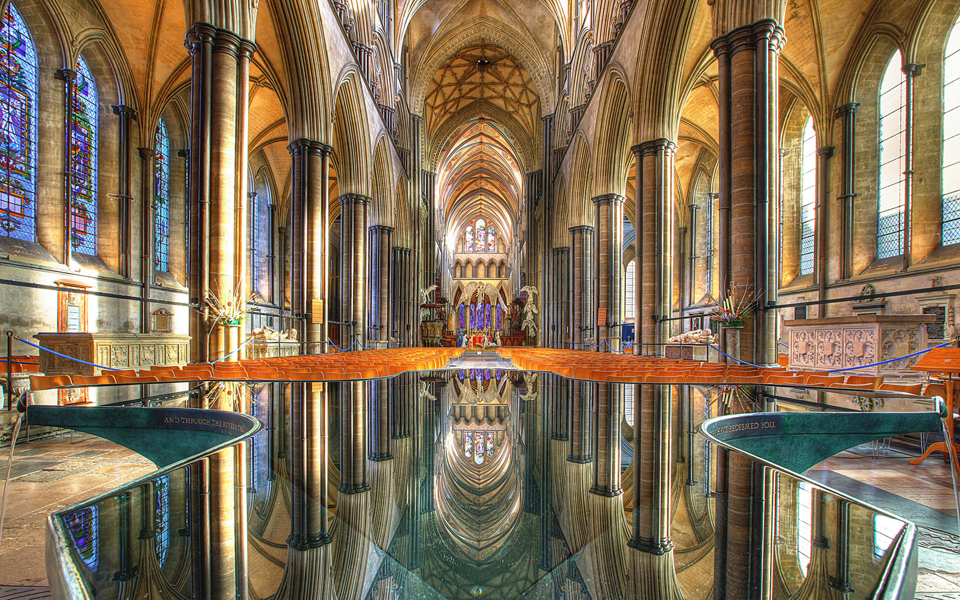 Beautiful cathedral windows reflection church bui 1920x1200