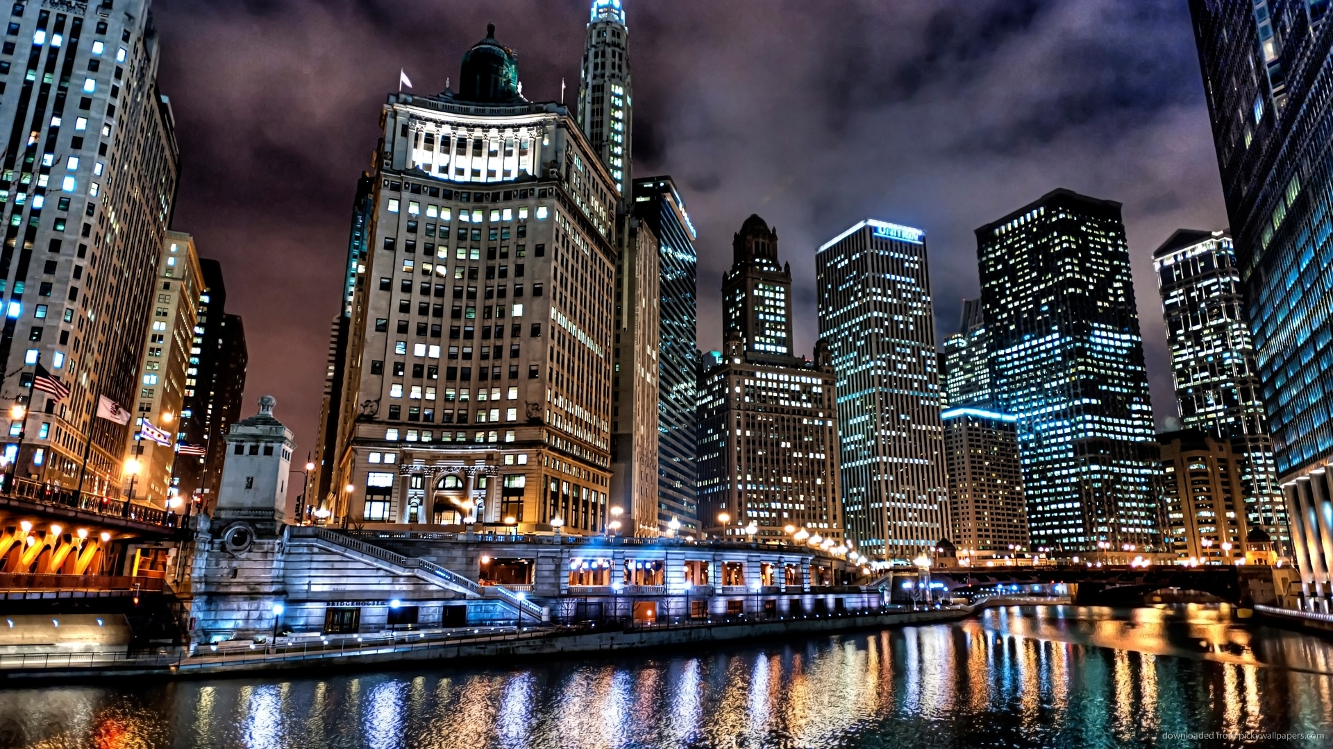 Beautiful Downtown Chicago River At Night Wallpaper picture