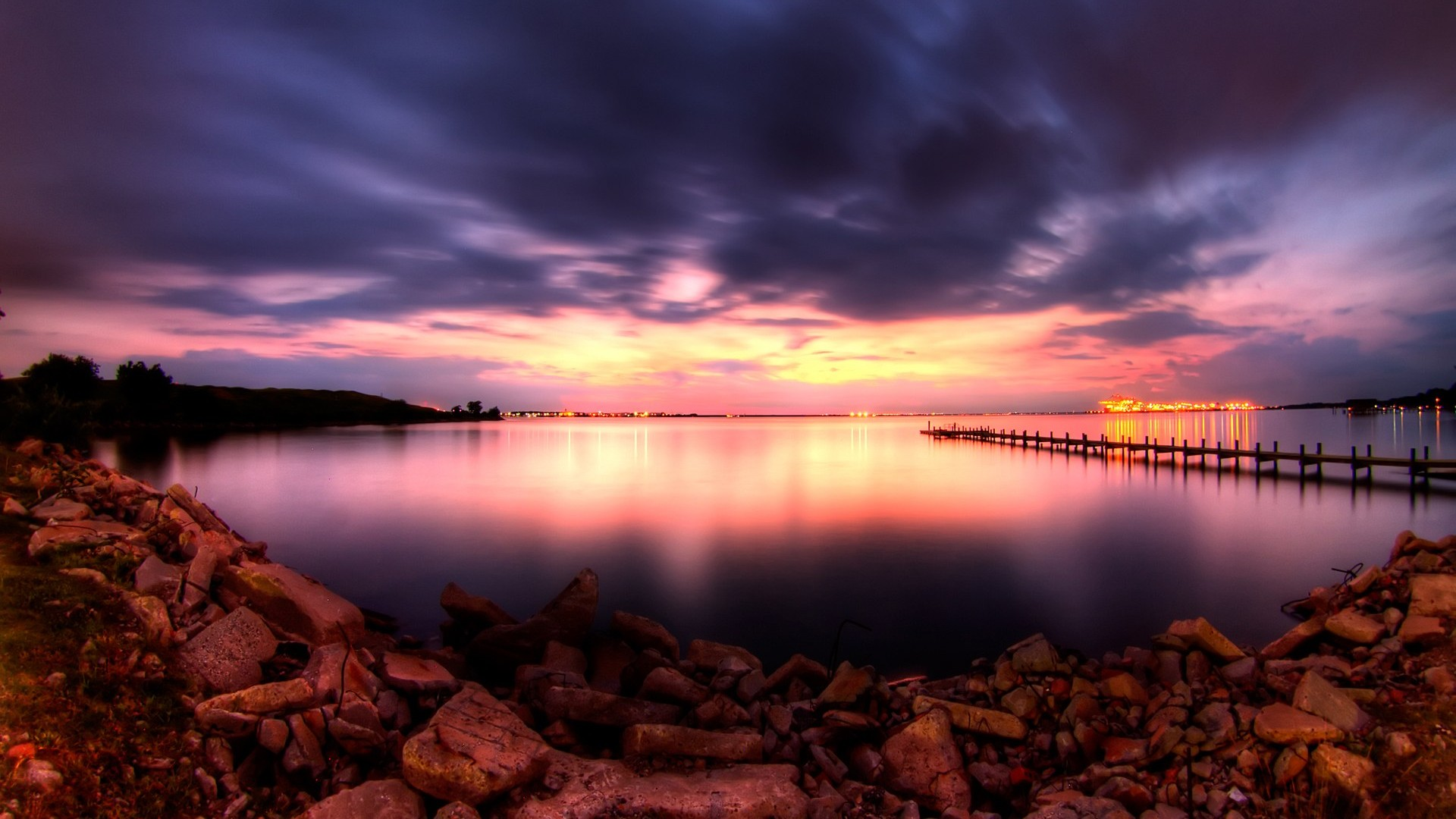 Beautiful Dusk On The Bay HD wallpapers