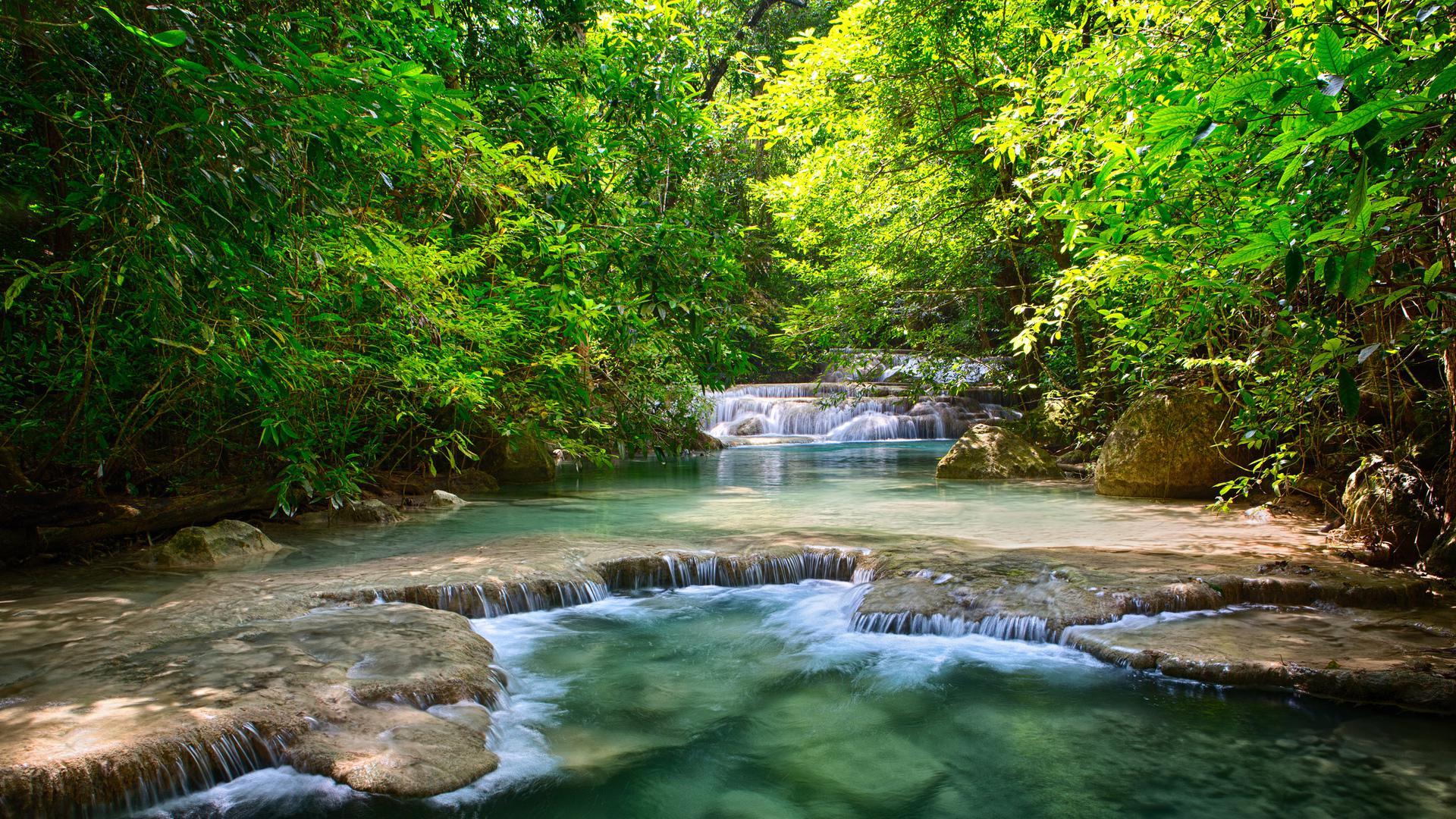 Beautiful falls in a forest stream HQ WALLPAPER - (#98041)