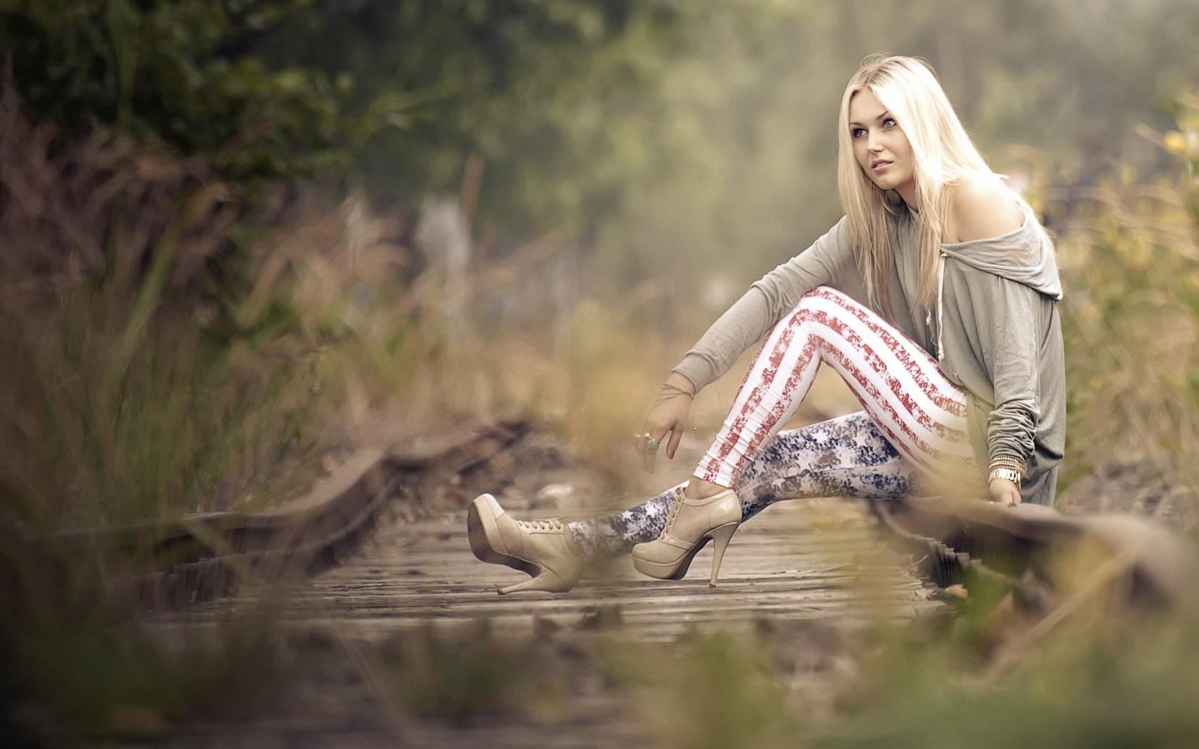 Beautiful Girl Blonde Railroad
