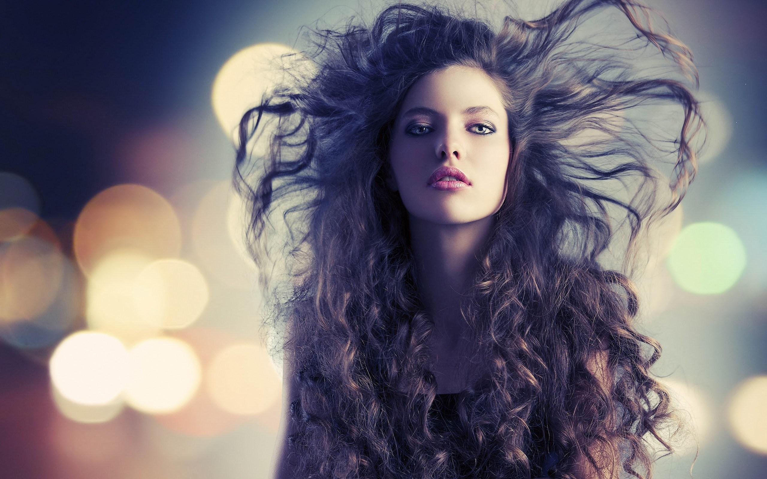 Girl Beautiful Hair Lights Bokeh HD Wallpaper