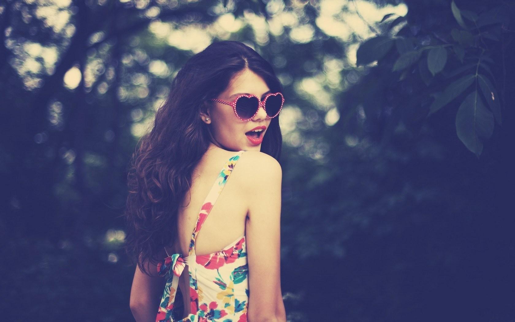 Beautiful Girl Brunette Heart Sunglasses Photo